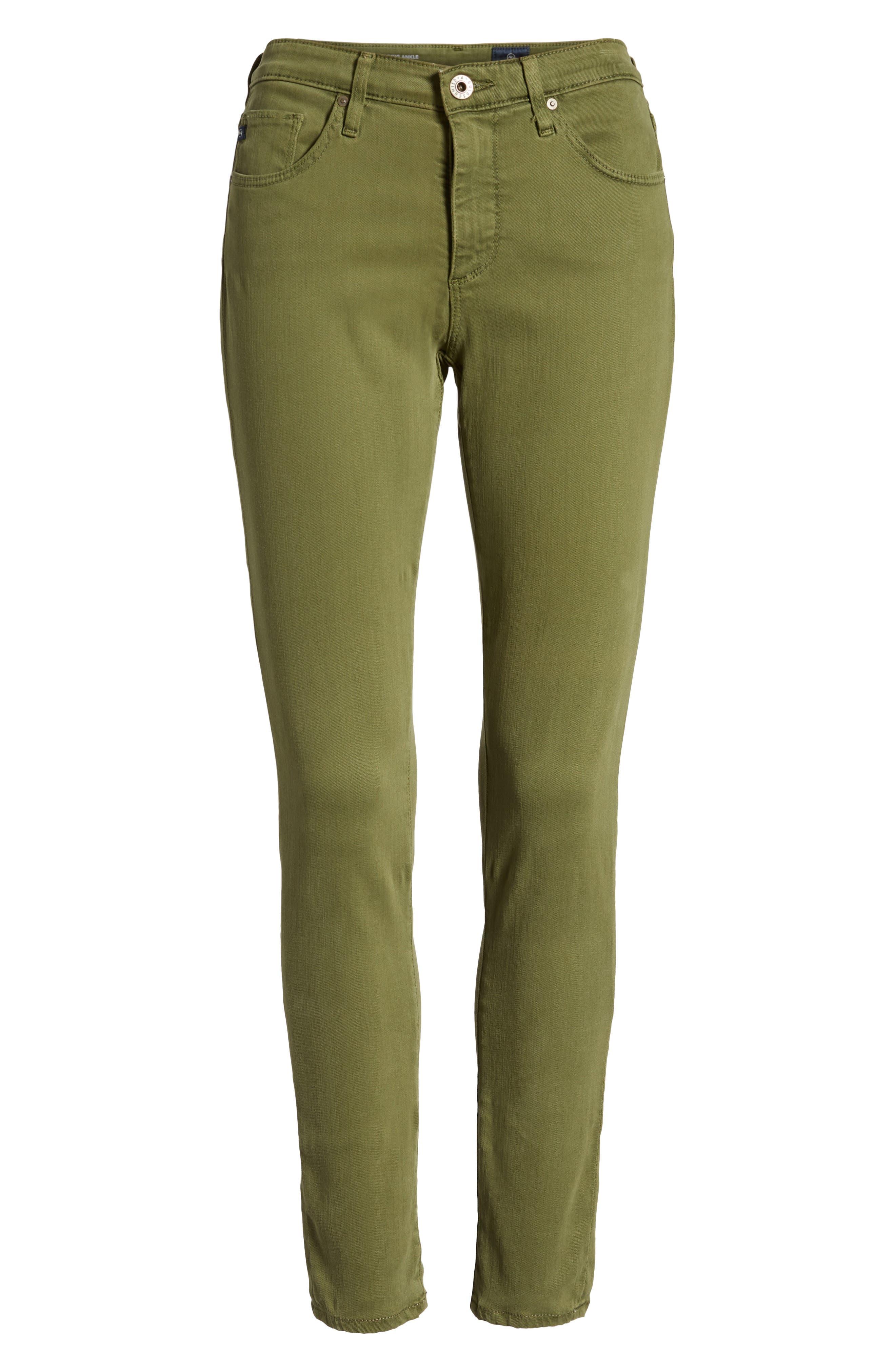 'The Legging' Ankle Jeans,                             Alternate thumbnail 7, color,                             SULFUR OLIVE GROVE