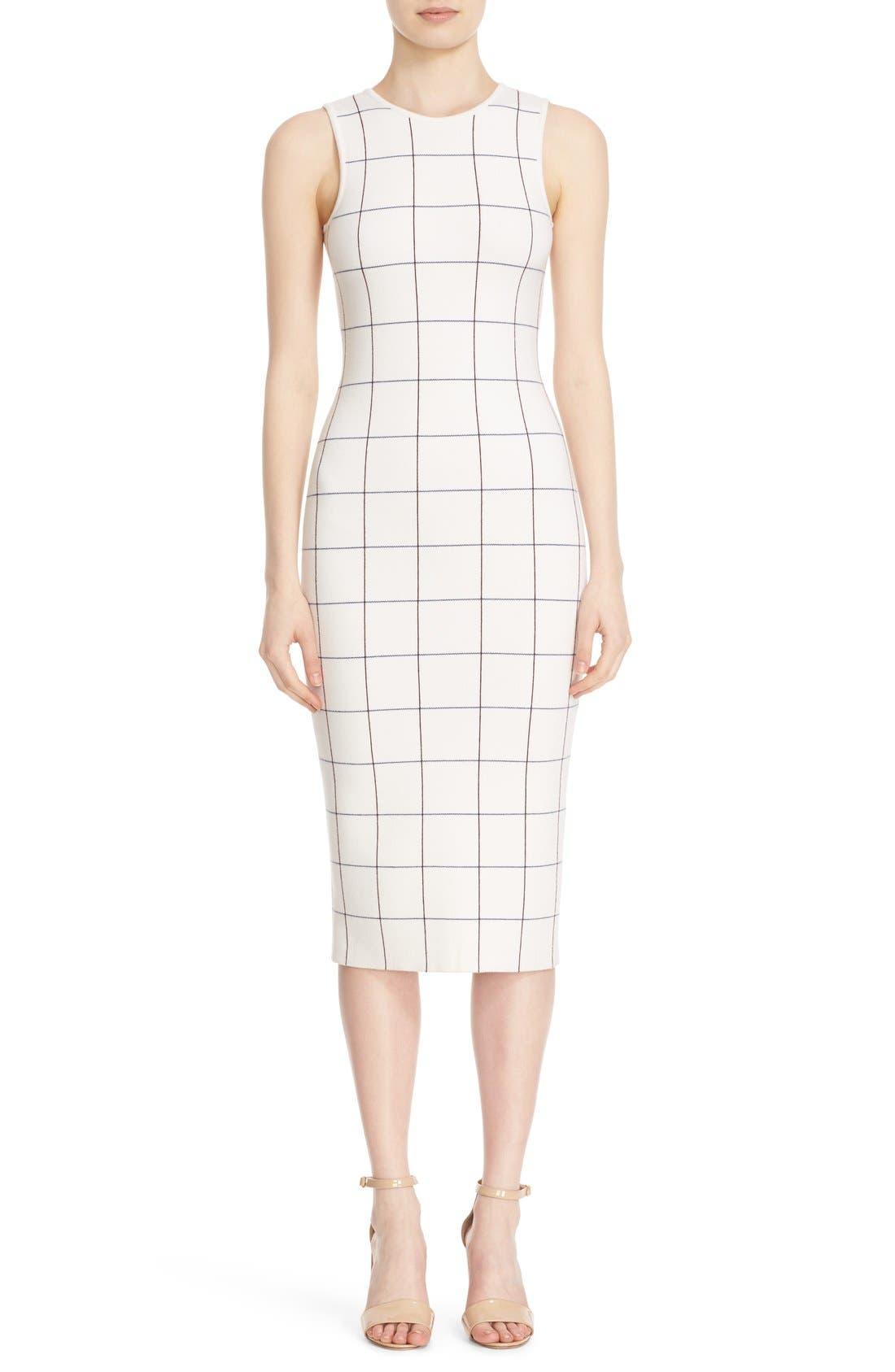 Victoria Beckham Intarsia Check Sheath Dress,                             Main thumbnail 1, color,                             100