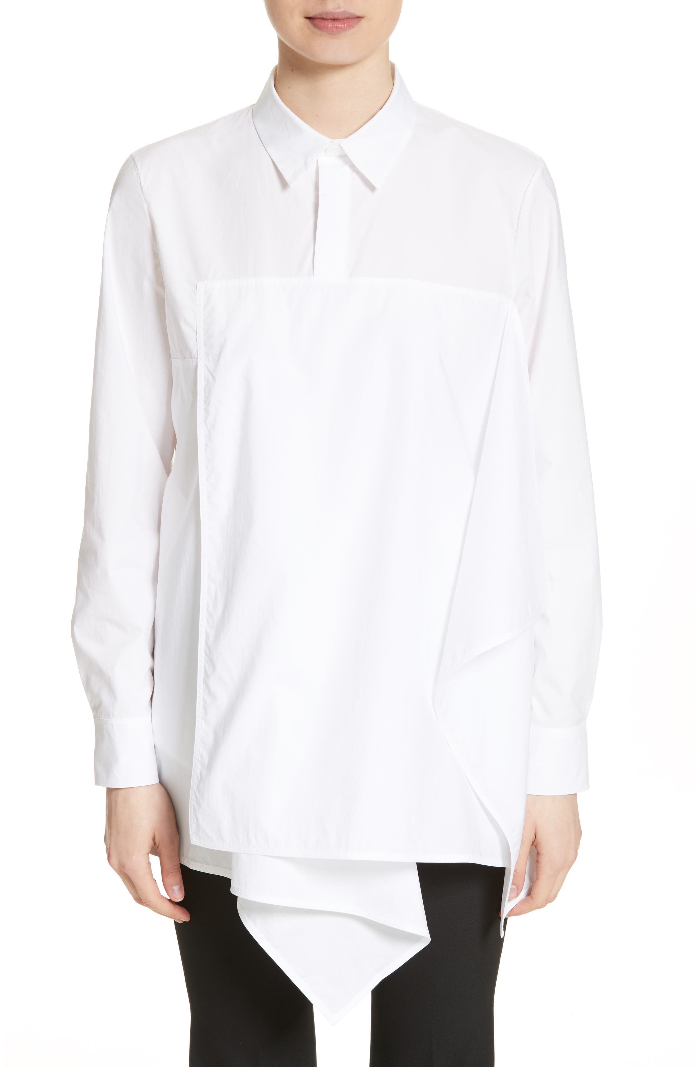 Draped Cotton Poplin Shirt,                         Main,                         color, 100