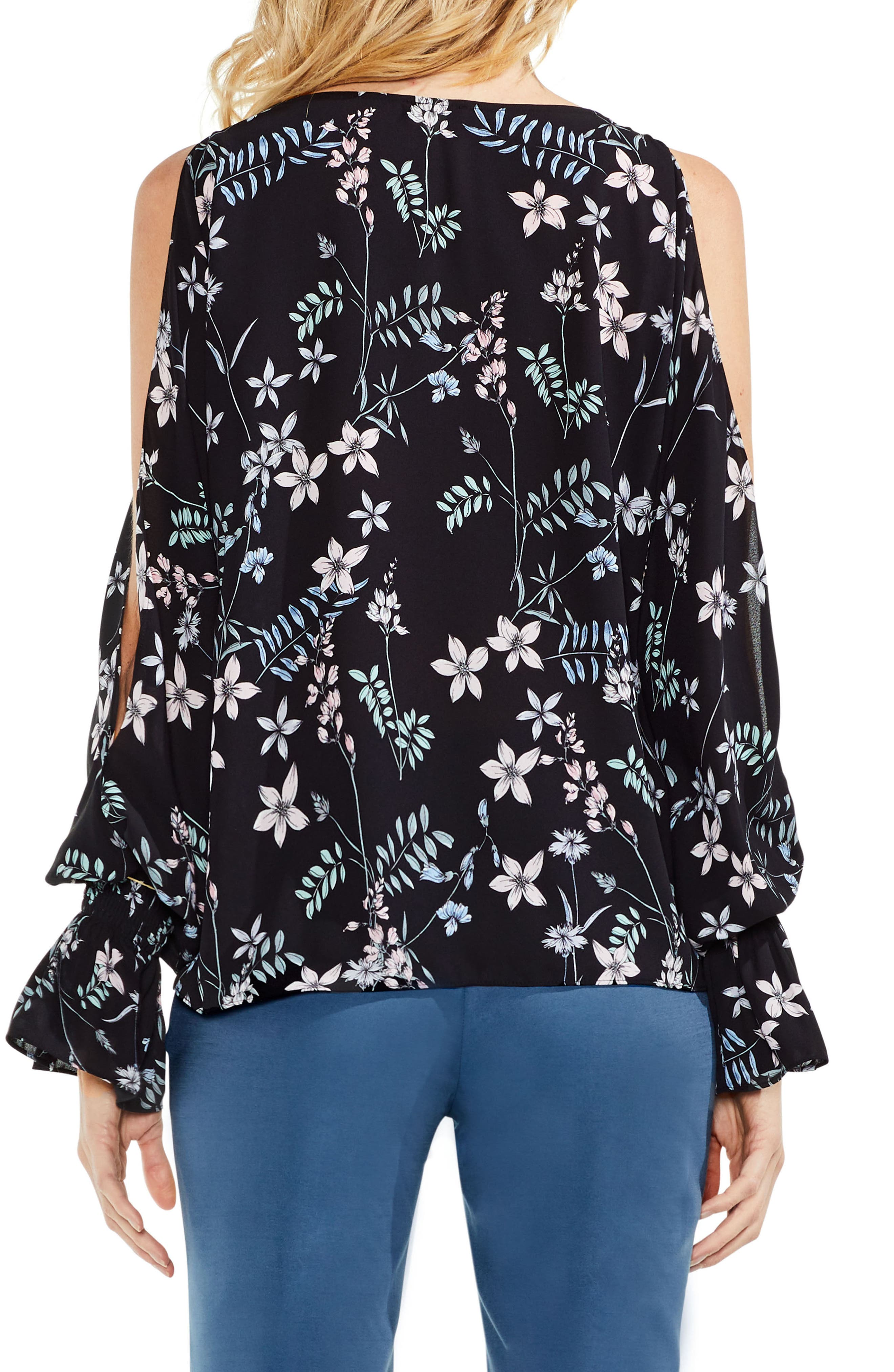 Flare Cuff Cold Shoulder Floral Top,                             Alternate thumbnail 3, color,