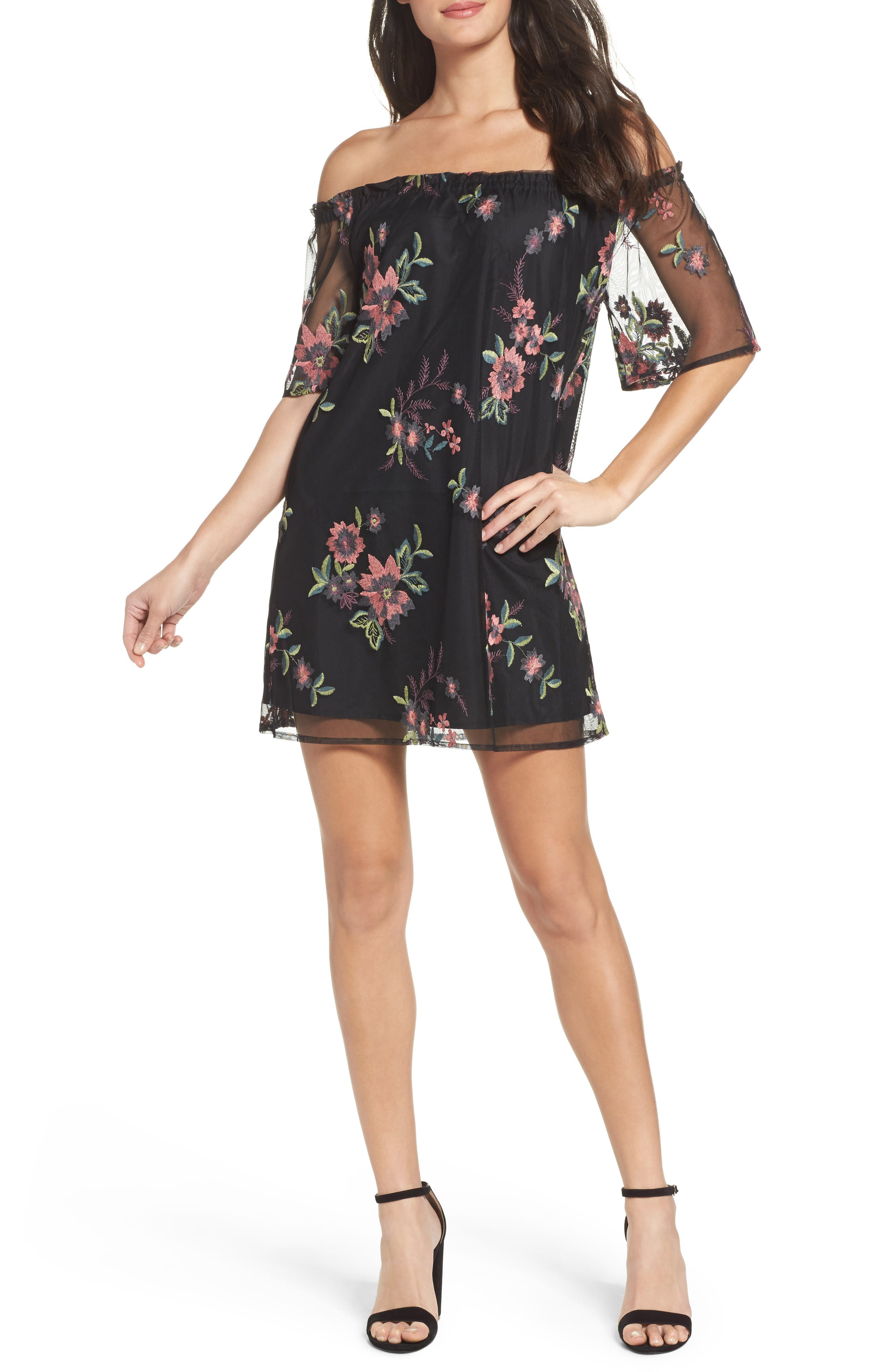 Lacole Embroidered Mesh Shift Dress,                             Main thumbnail 1, color,                             001