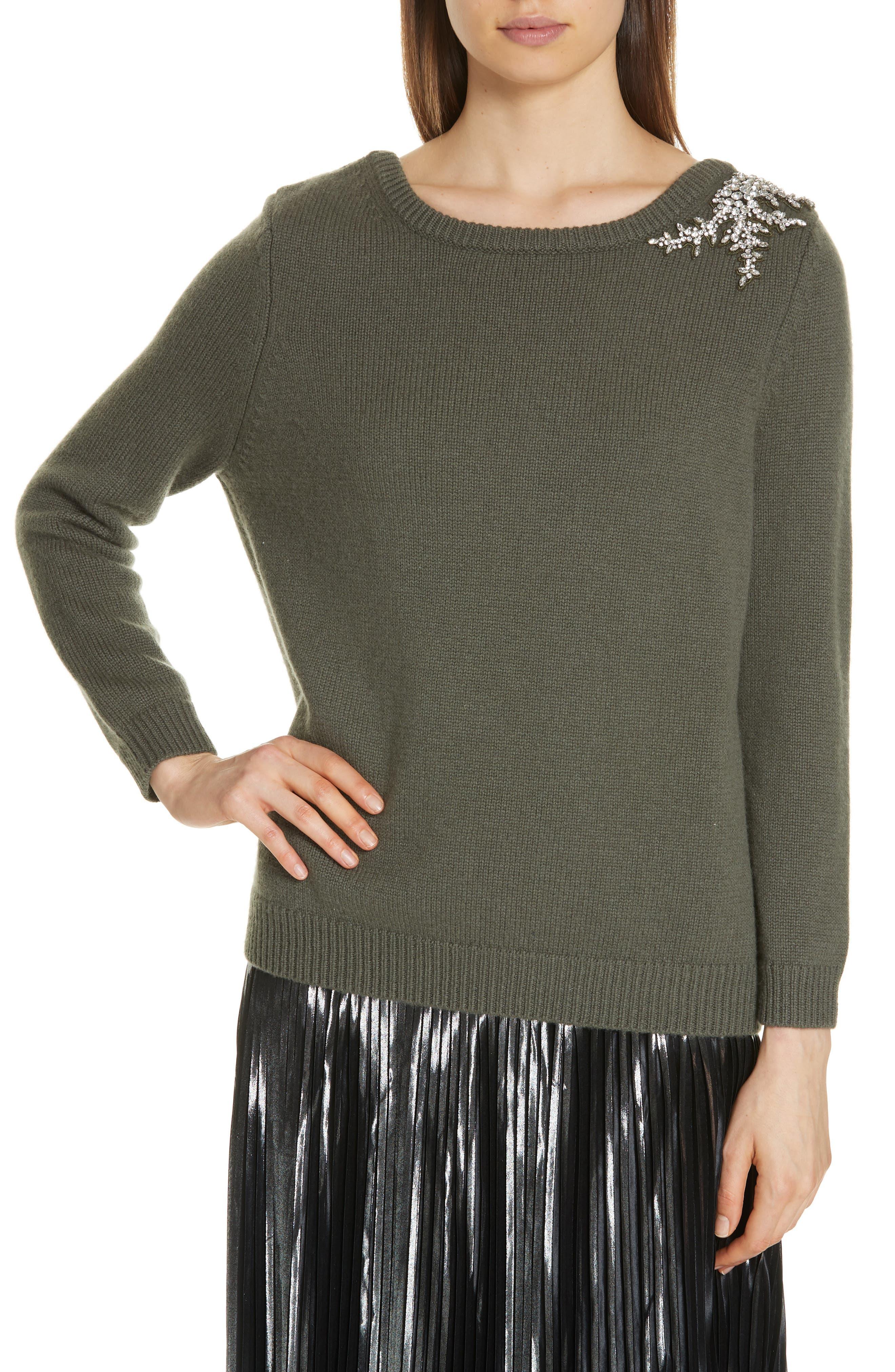 Ba & sh Ourea Jewel Detail Wool Cashmere Sweater, Brown
