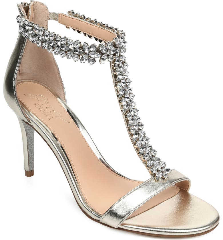 77536b64bdb Jewel Badgley Mischka Janna Embellished T-Strap Sandal (Women ...