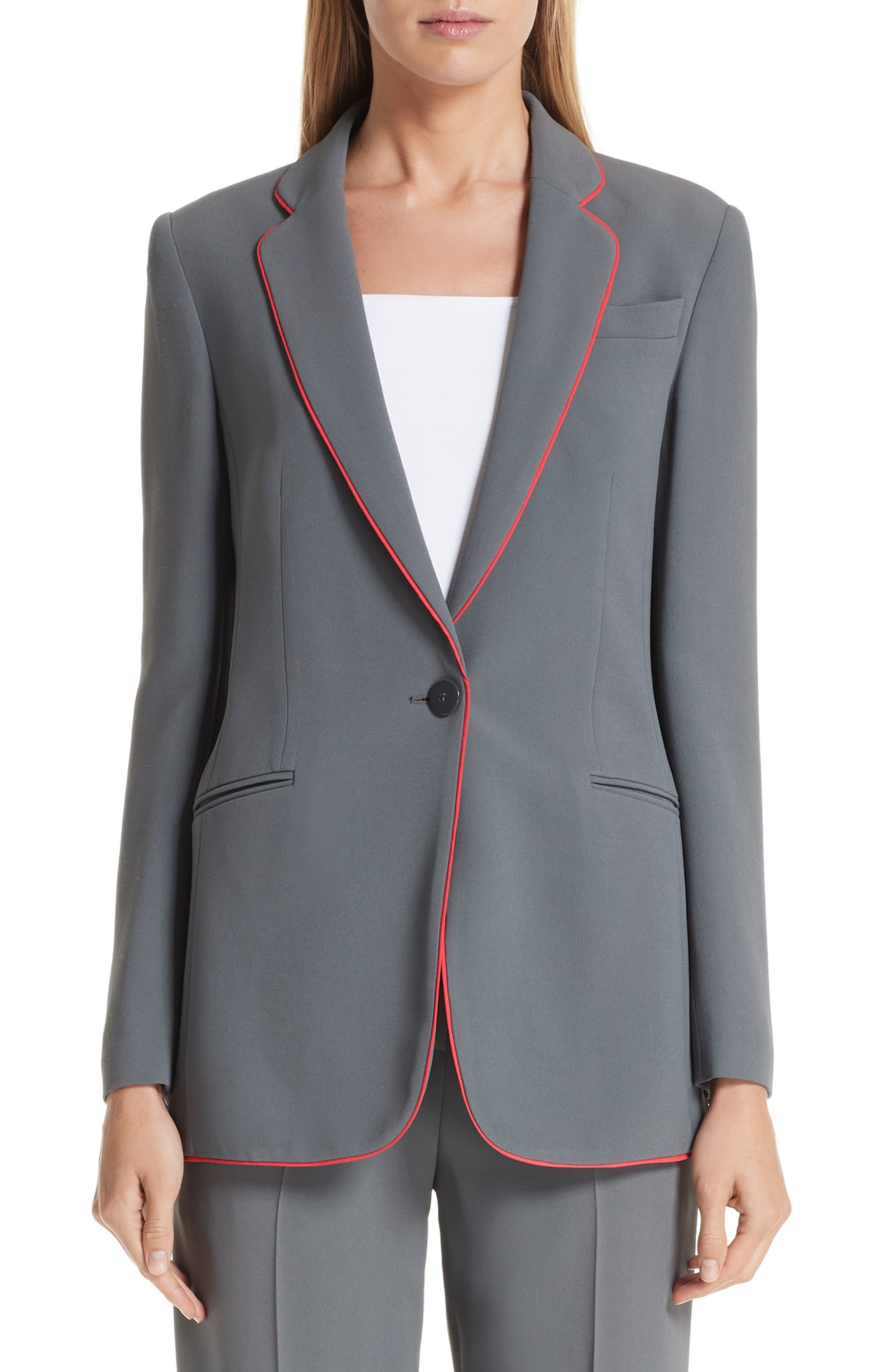 Piped Woven Jacket, Main, color, ROCCIA