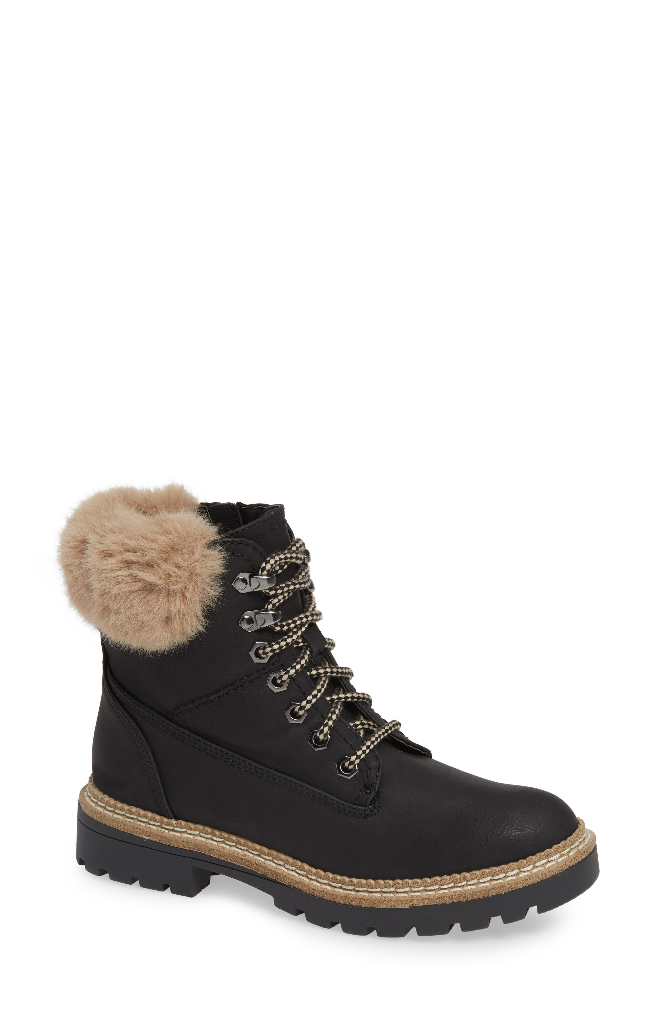 Alaska Lace-Up Bootie with Faux Fur Cuff,                             Main thumbnail 1, color,                             BLACK