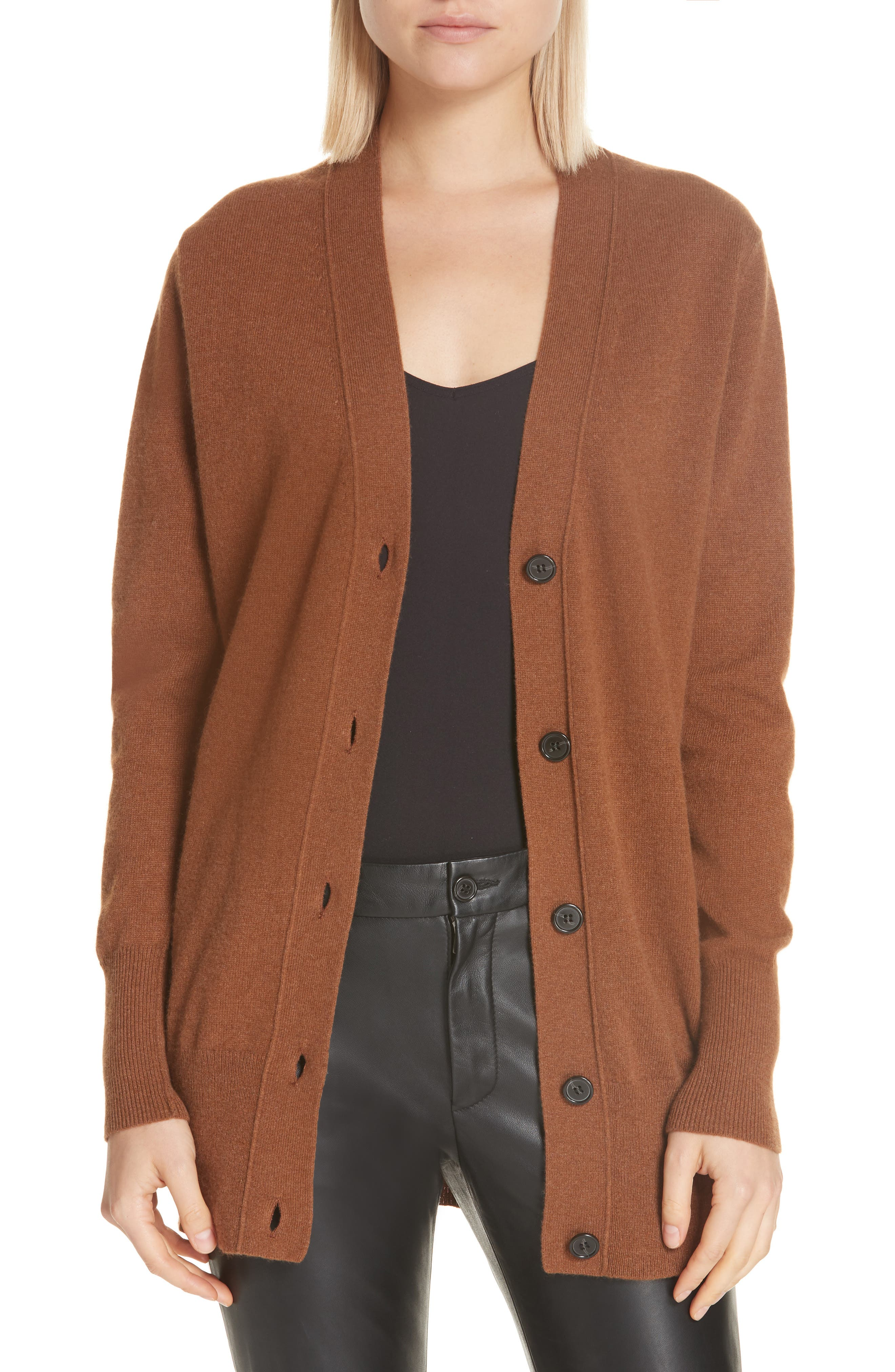NILI LOTAN Lane Cashmere Cardigan, Main, color, COGNAC