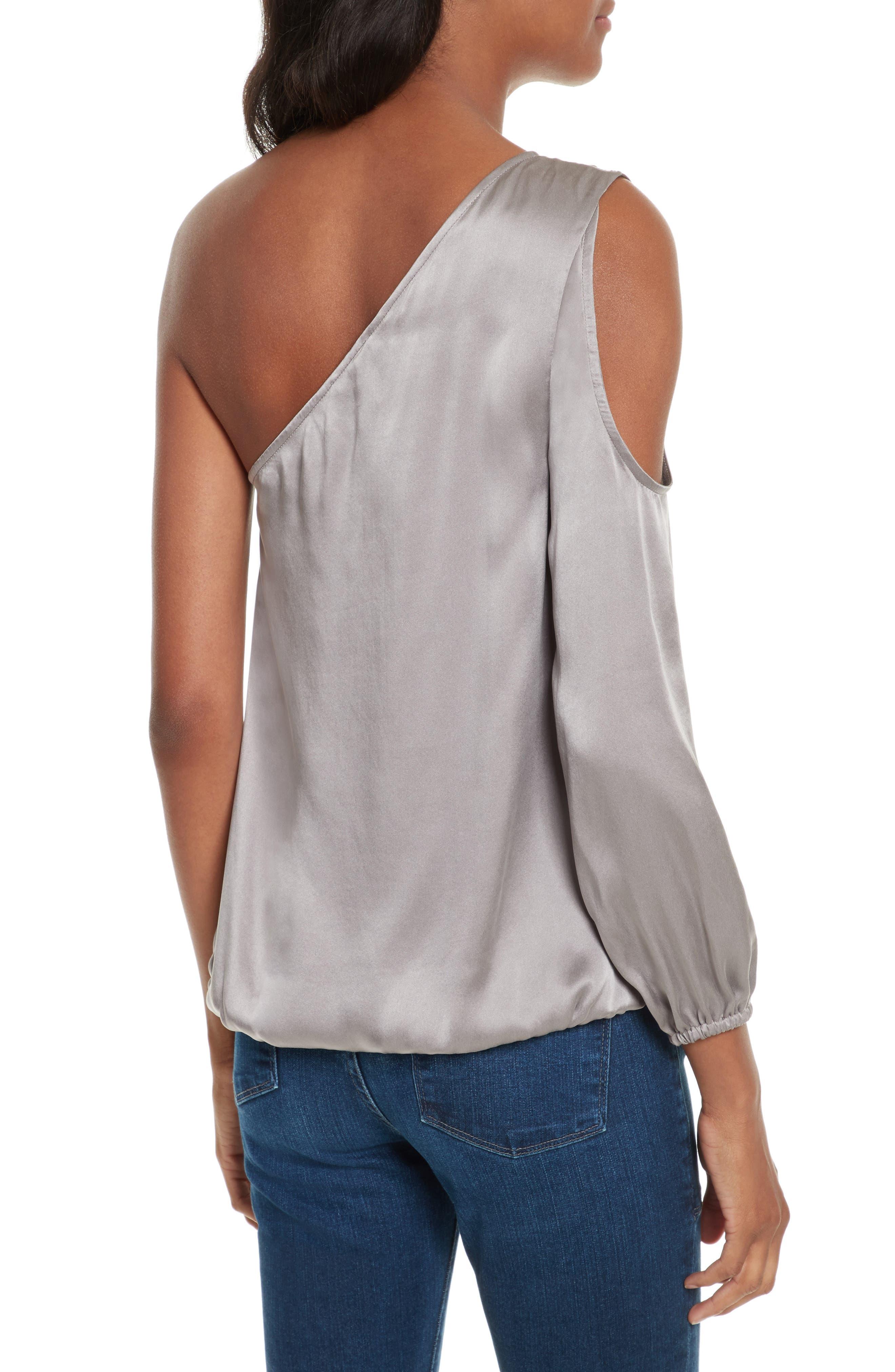Abatha One-Shoulder Silk Top,                             Alternate thumbnail 2, color,