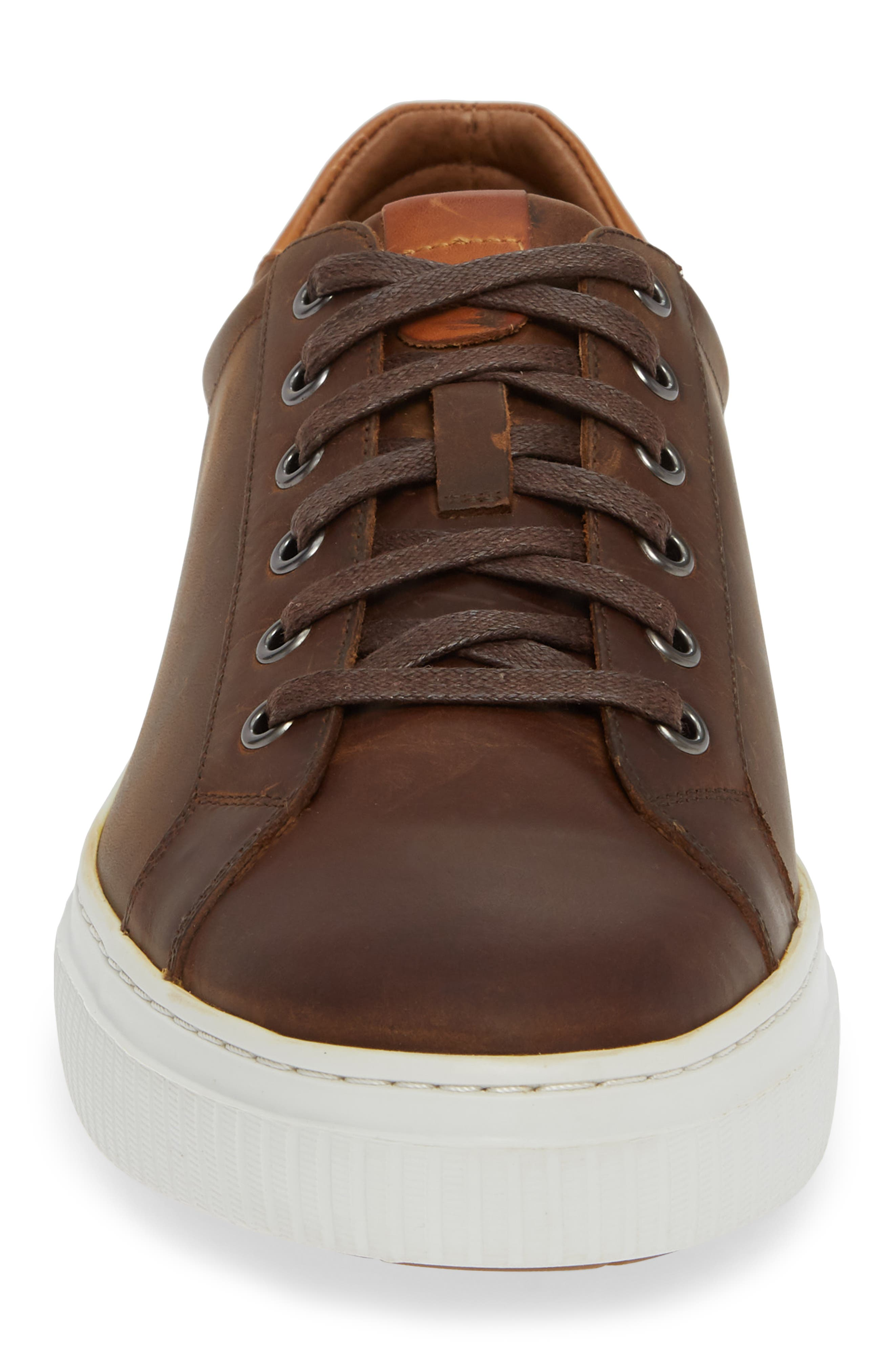 Toliver Low Top Sneaker,                             Alternate thumbnail 4, color,                             TAN LEATHER