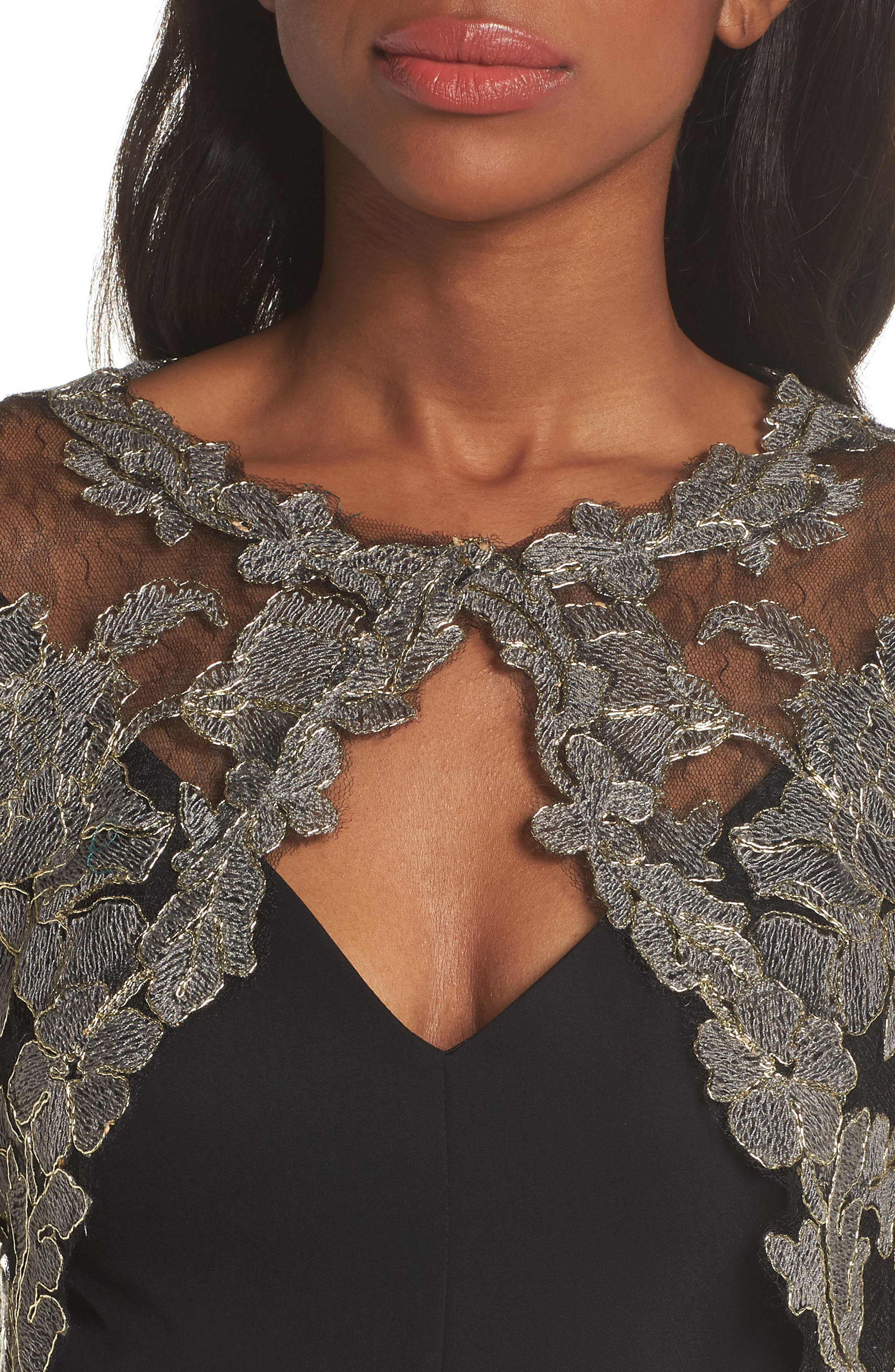 Crepe & Embroidered Lace Gown,                             Alternate thumbnail 4, color,                             SMOKE PEARL/ BLACK