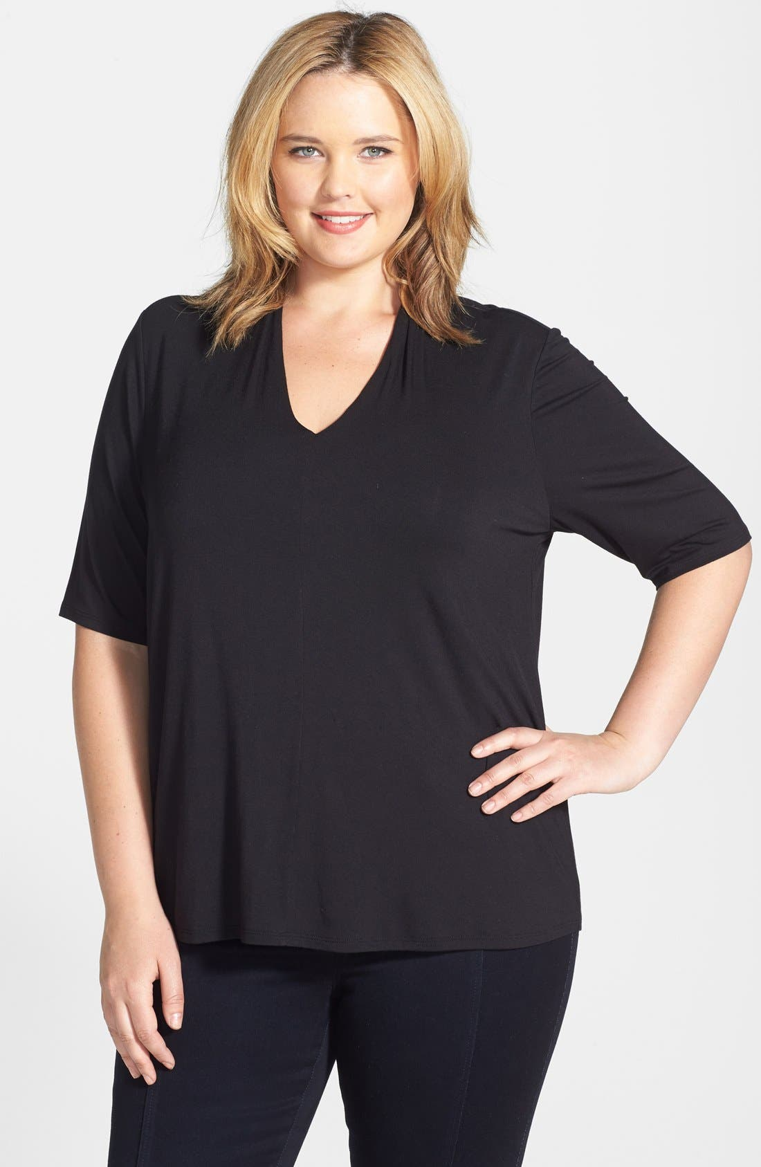Elbow Sleeve V-Neck Jersey Top, Main, color, 001