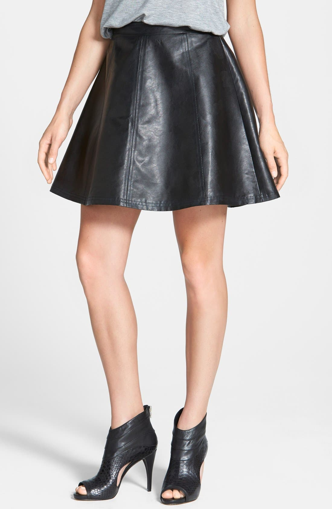 Faux Leather Circle Skirt, Main, color, 001