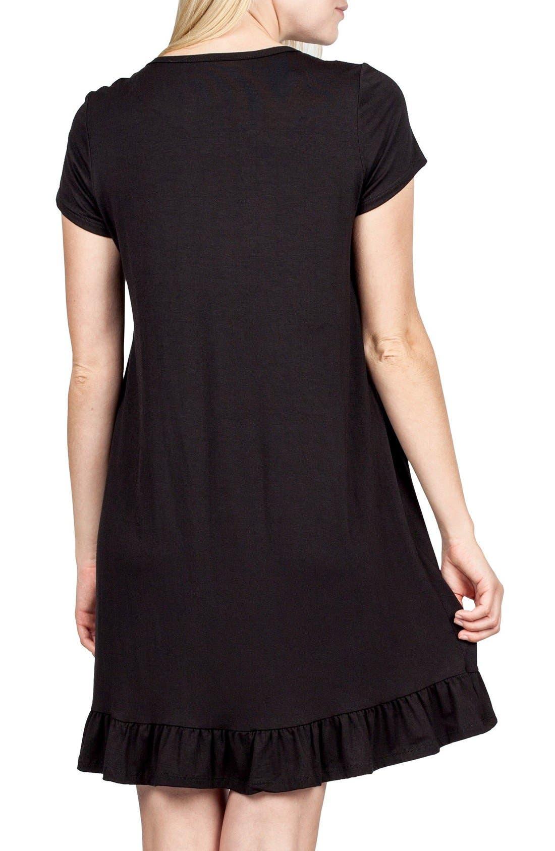 San Francisco Maternity/Nursing Nightgown,                             Alternate thumbnail 3, color,                             BLACK