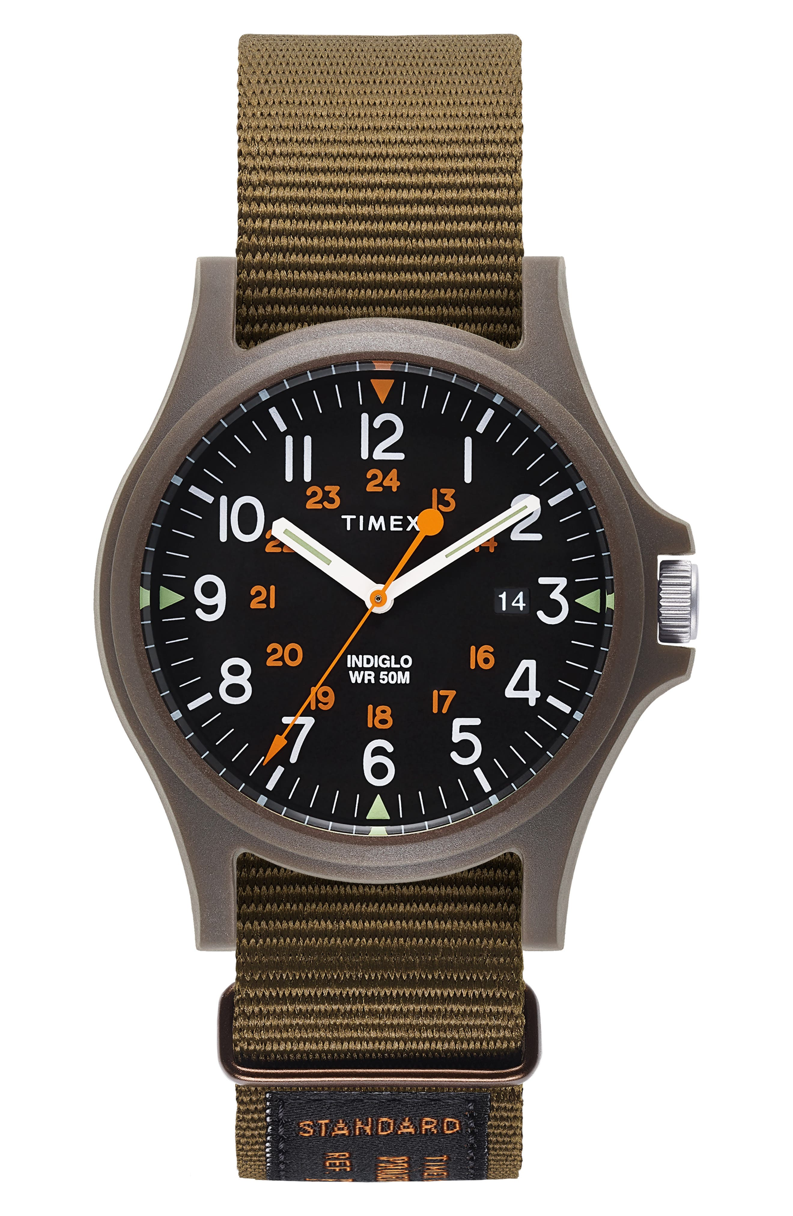 Timex<sup>®</sup> Acadia NATO Strap Watch, 40mm,                         Main,                         color, BLACK/ OLIVE