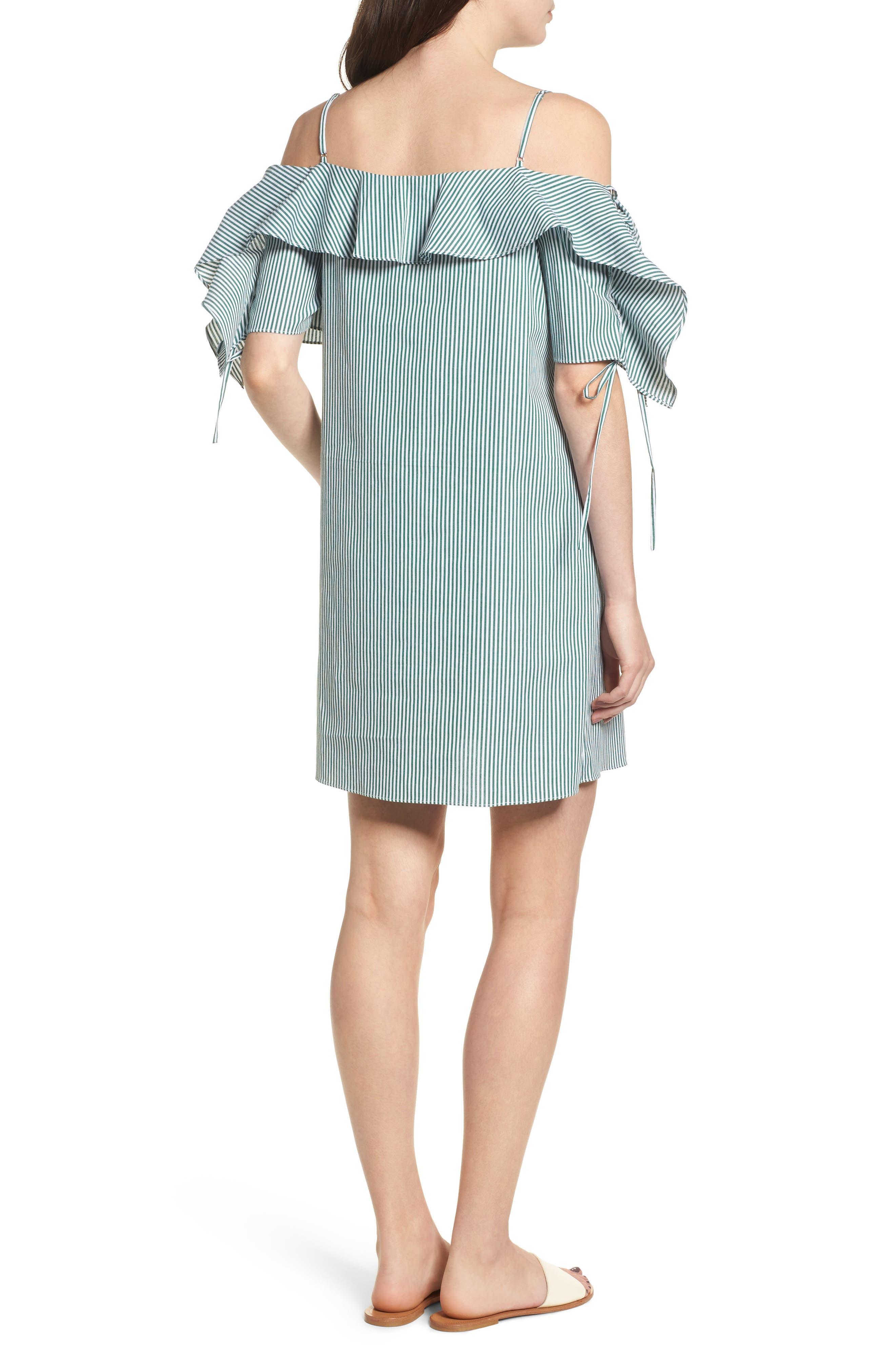 Ruffle Cold Shoulder Shift Dress,                             Alternate thumbnail 2, color,