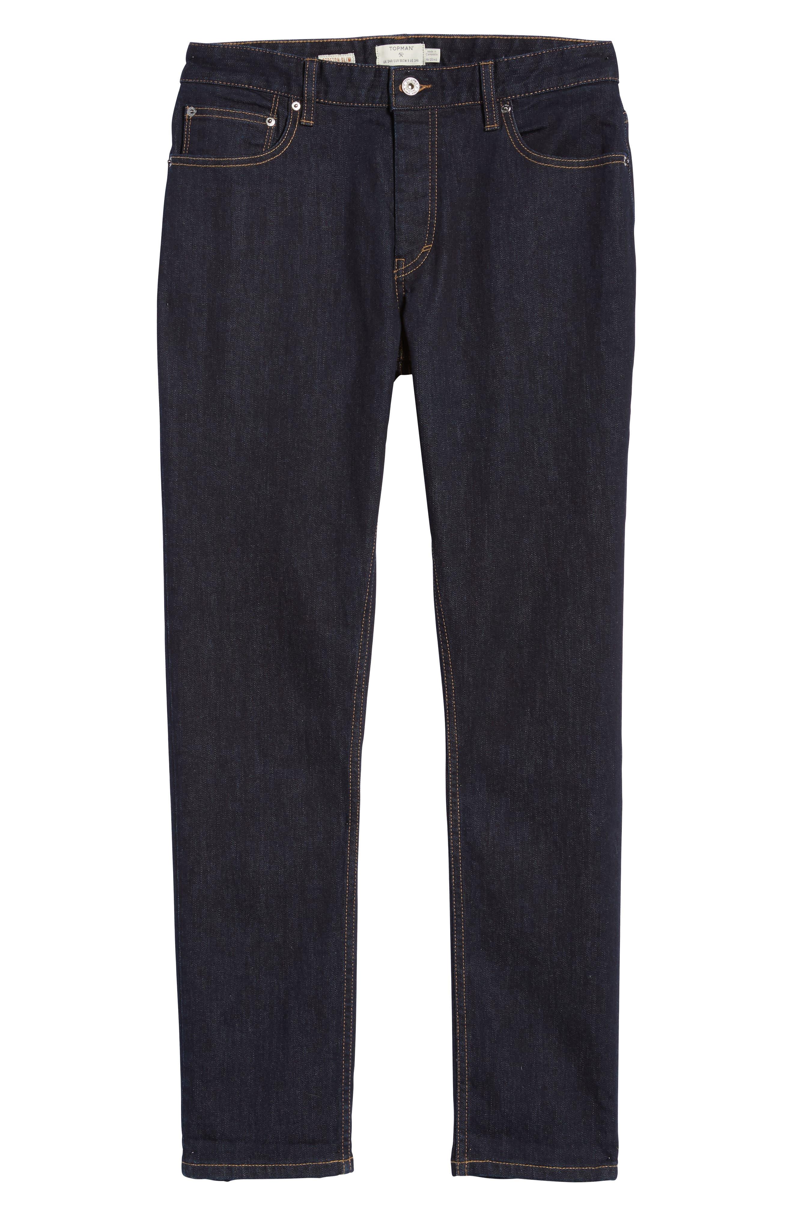 Stretch Slim Fit Raw Denim Jeans,                             Alternate thumbnail 6, color,                             400