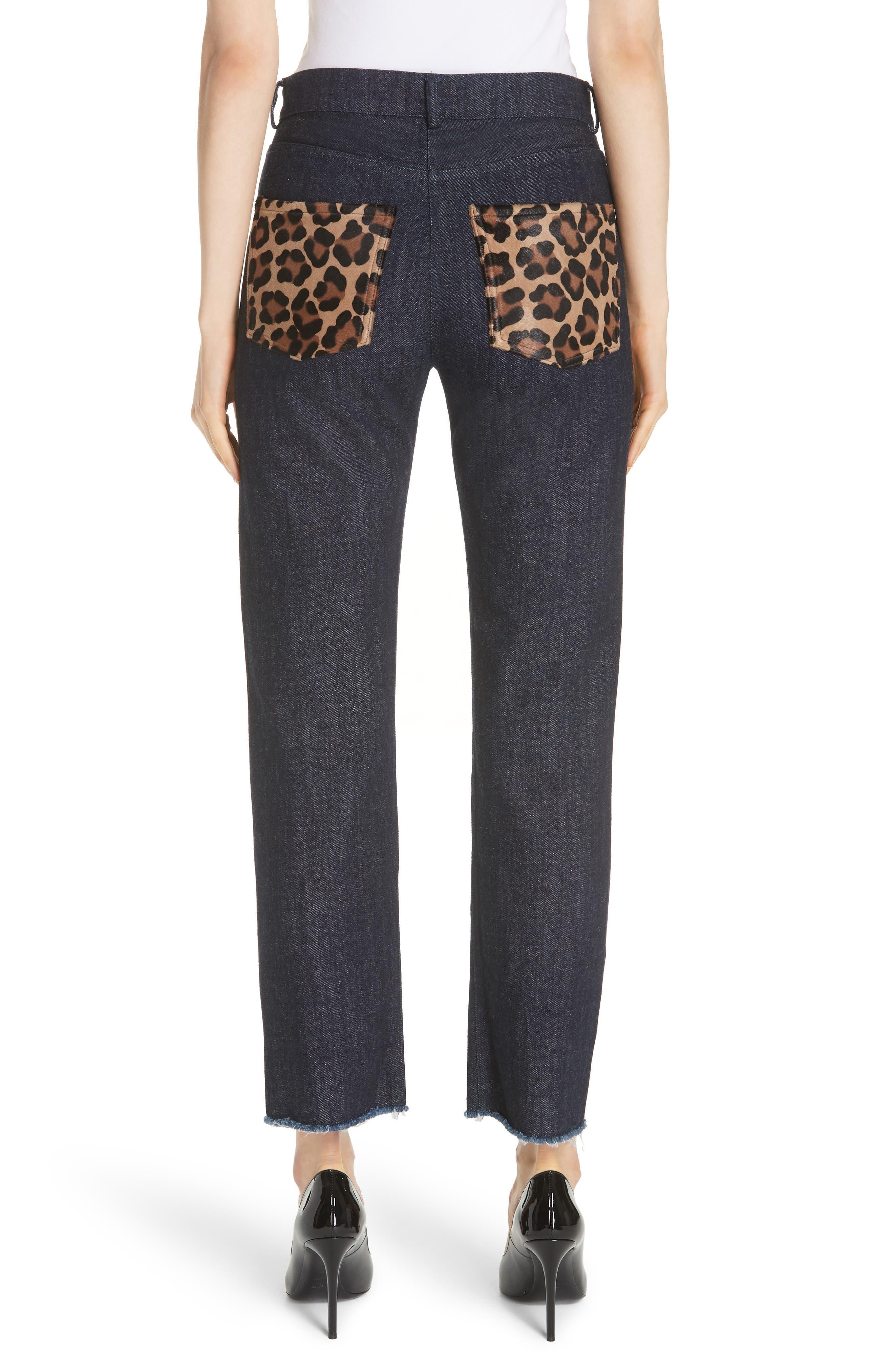 Genuine Calf Hair Pocket Straight Leg Jeans,                             Alternate thumbnail 2, color,                             INDIGO