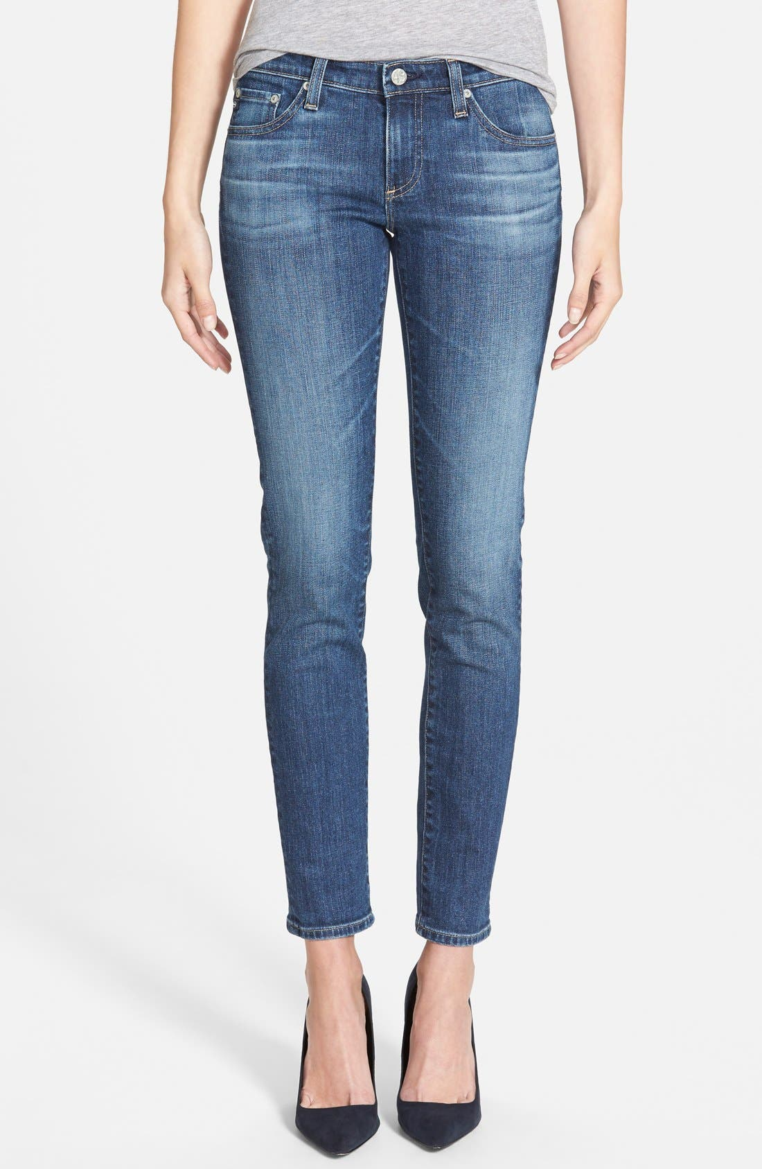 'The Stilt' Cigarette Leg Stretch Jeans,                             Main thumbnail 1, color,                             403