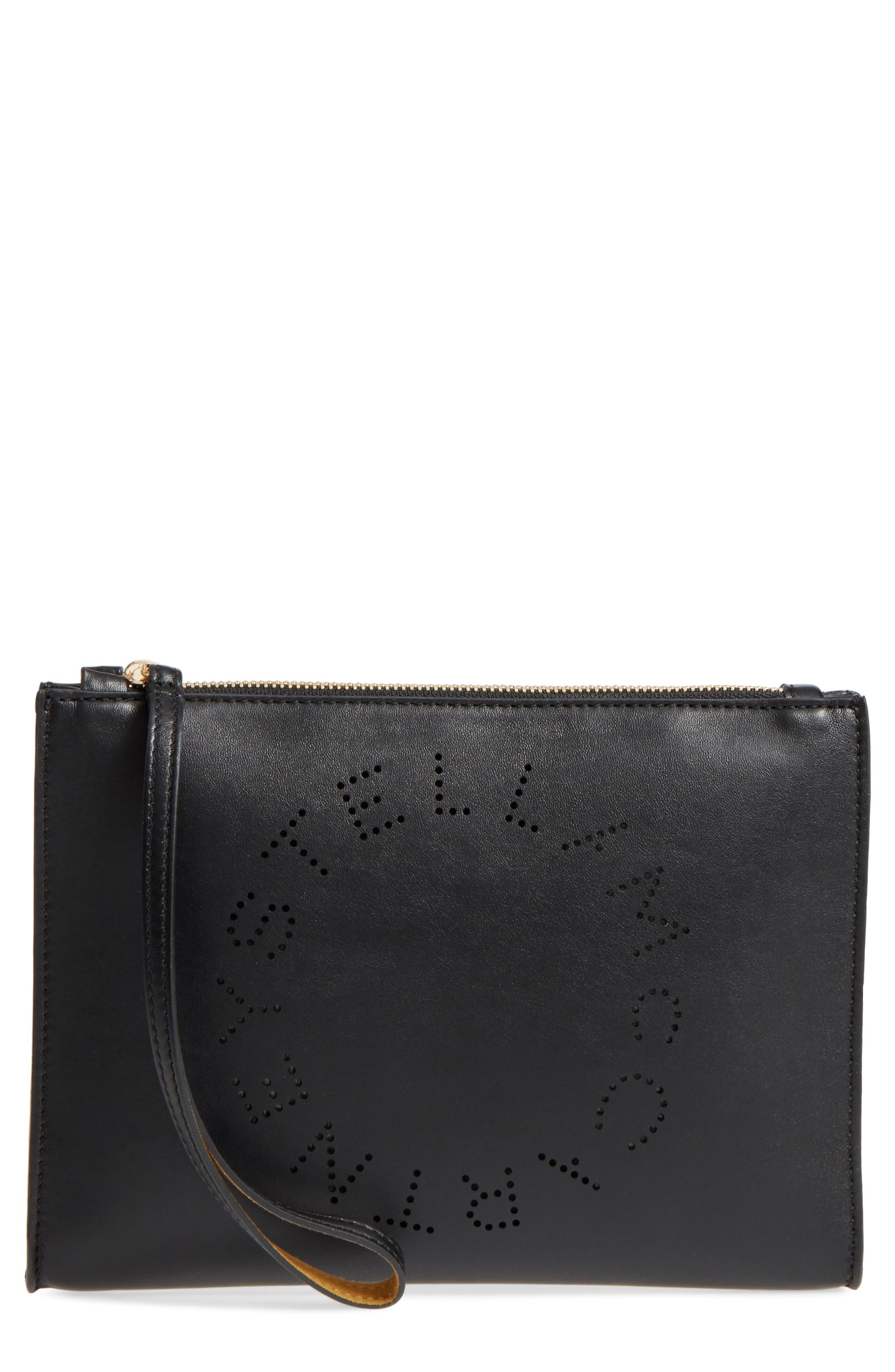 Alter Faux Nappa Leather Wristlet Clutch,                             Main thumbnail 1, color,                             BLACK