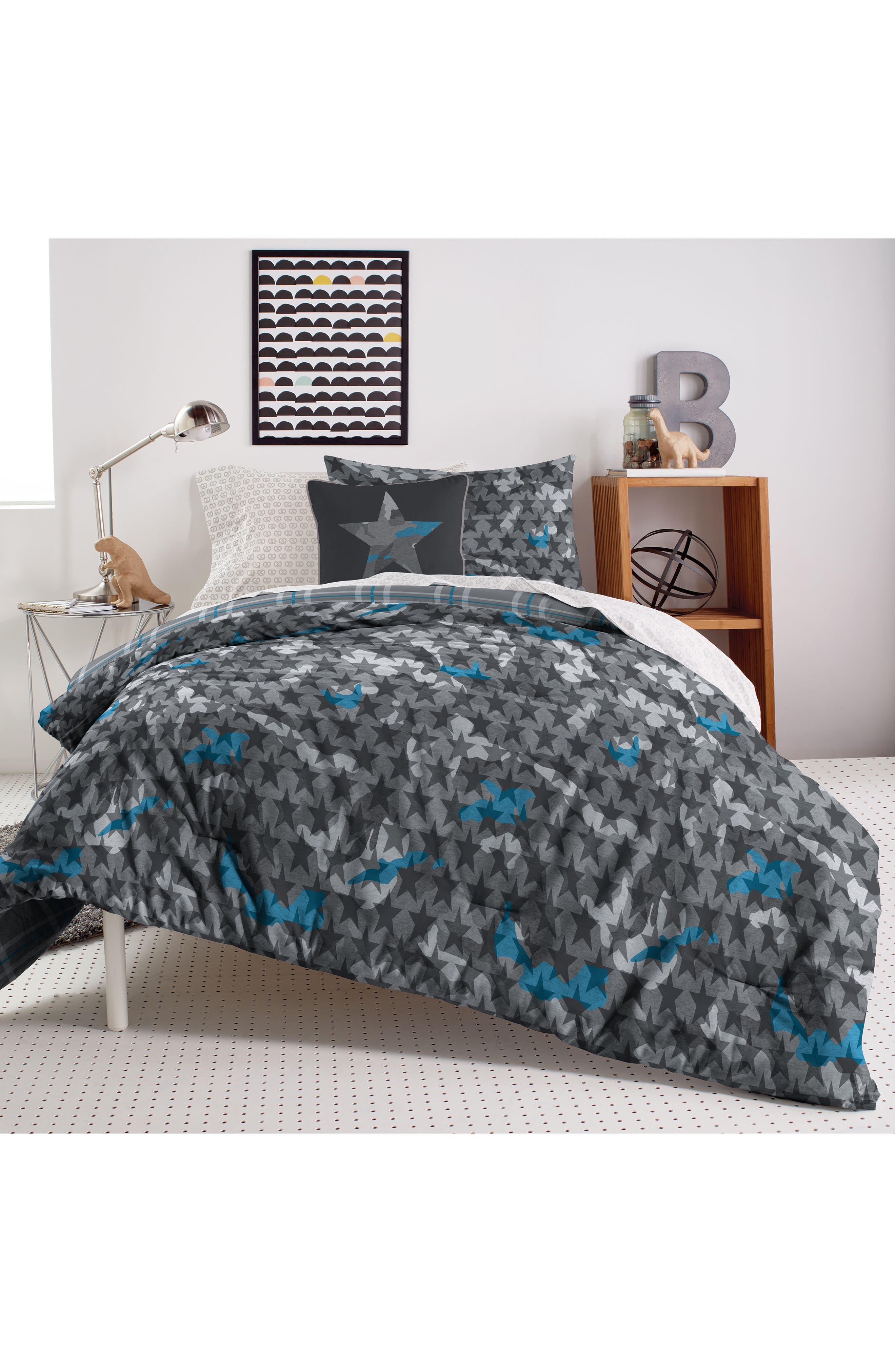 DKNY Camo Comforter & Sham Set, Main, color, GREY