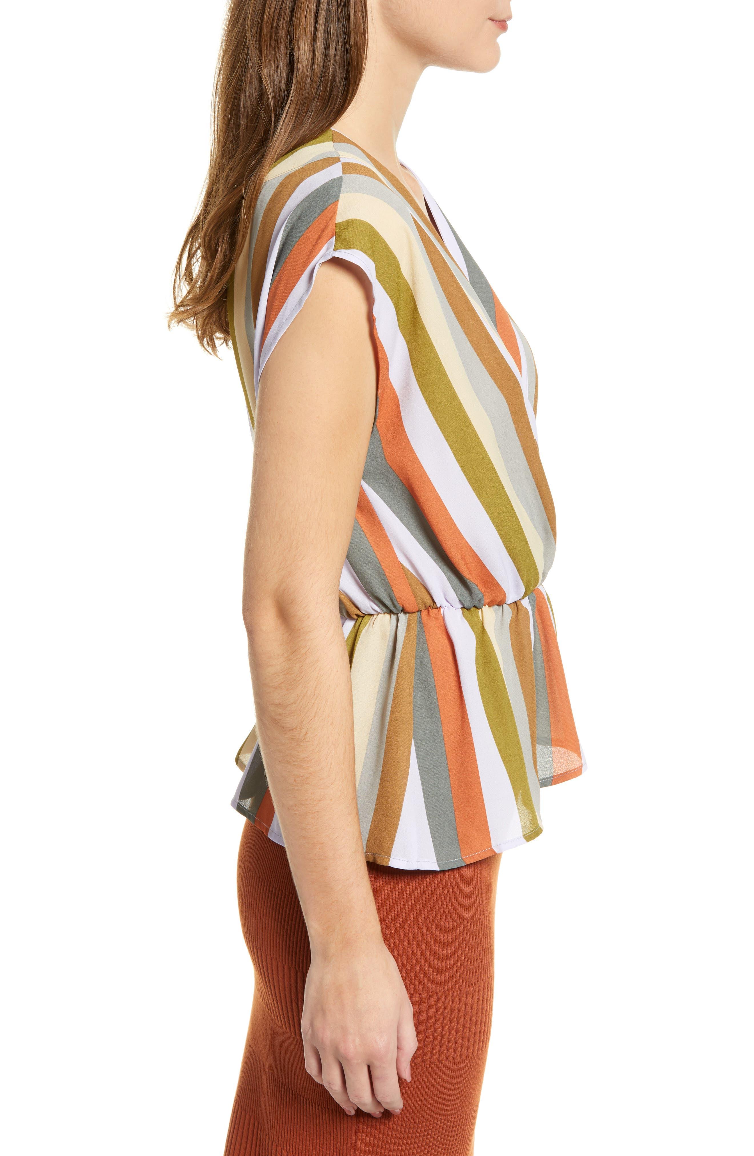 LEITH,                             Wrap Style Blouse,                             Alternate thumbnail 3, color,                             PURPLE FROST MULTI STRIPE