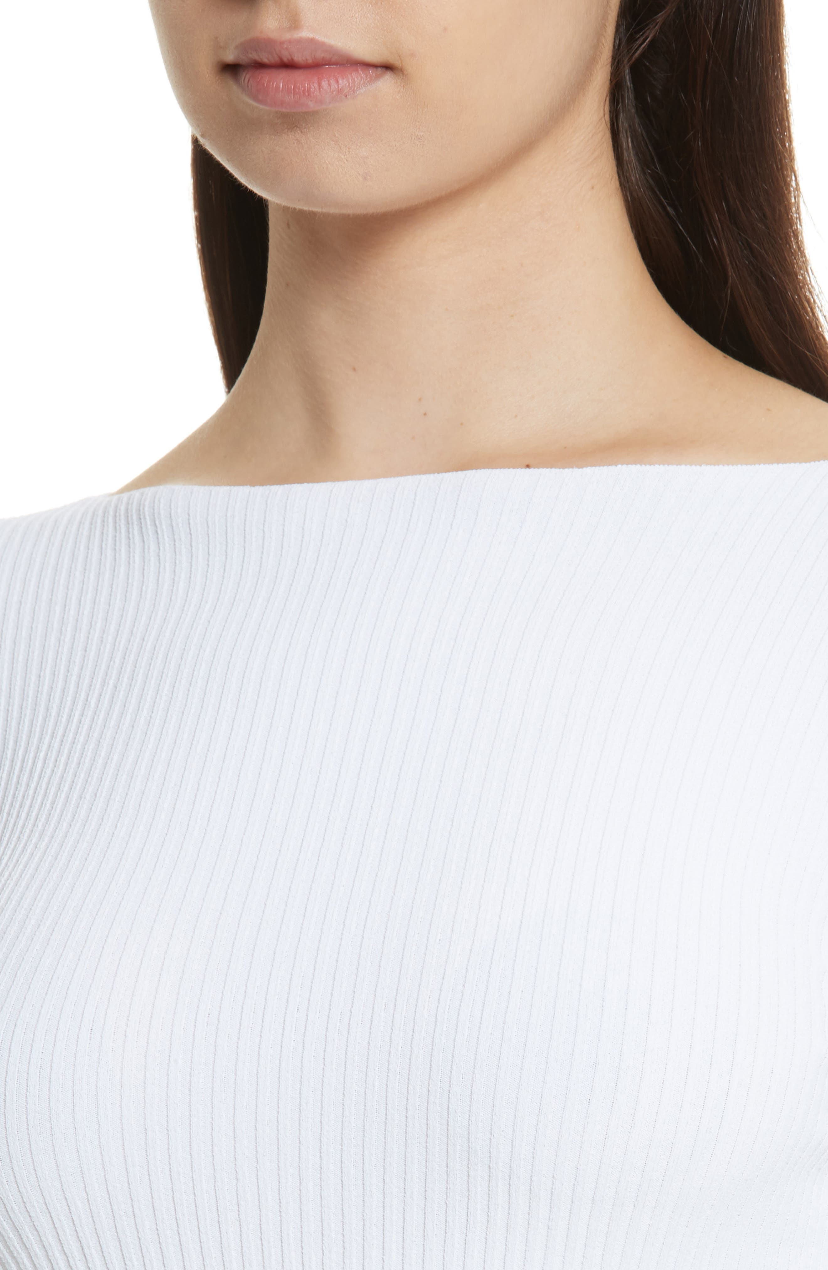Boat Neck Ribbed Top,                             Alternate thumbnail 8, color,