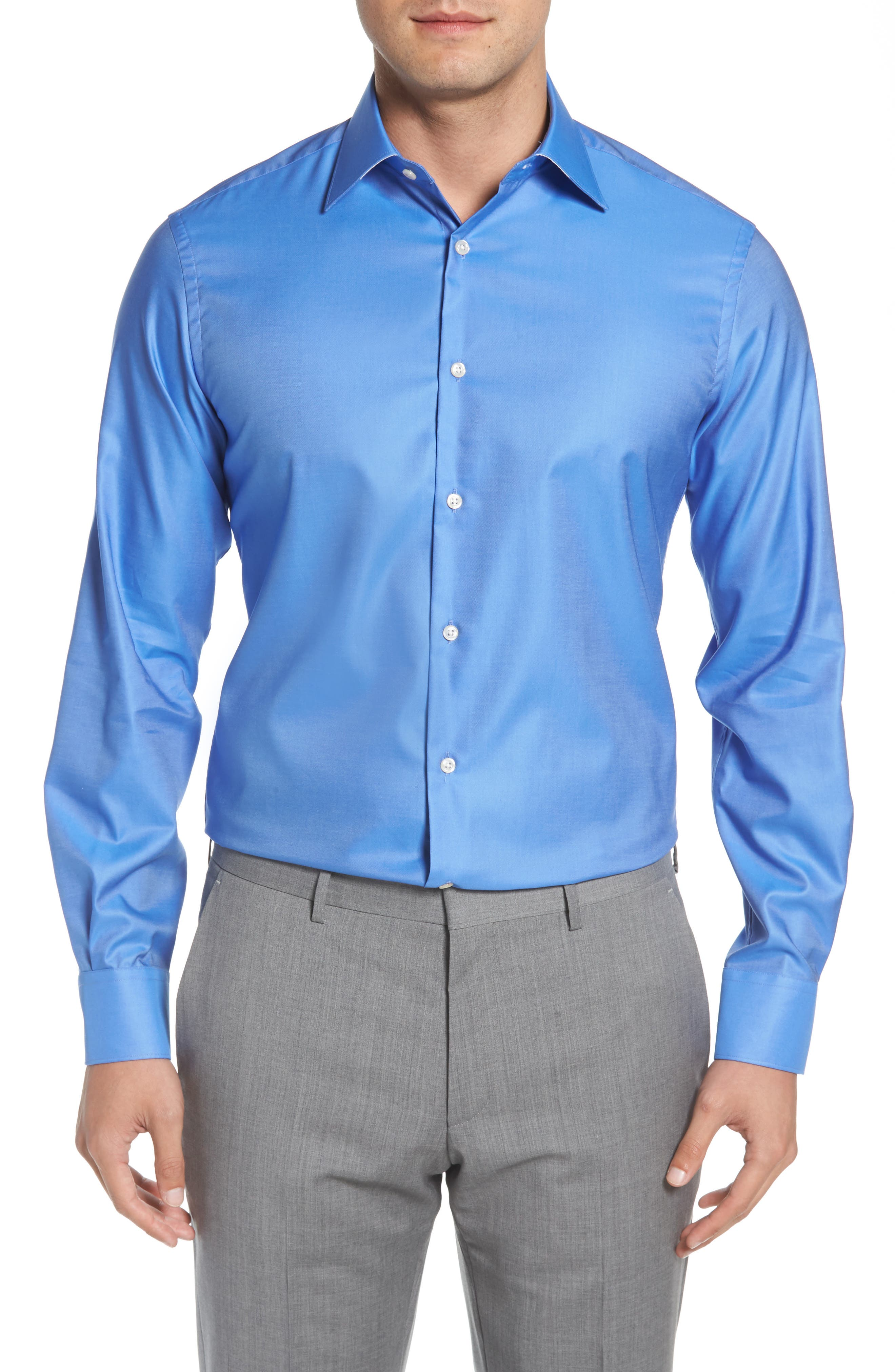 Regular Fit Solid Dress Shirt,                         Main,                         color, DARK BLUE