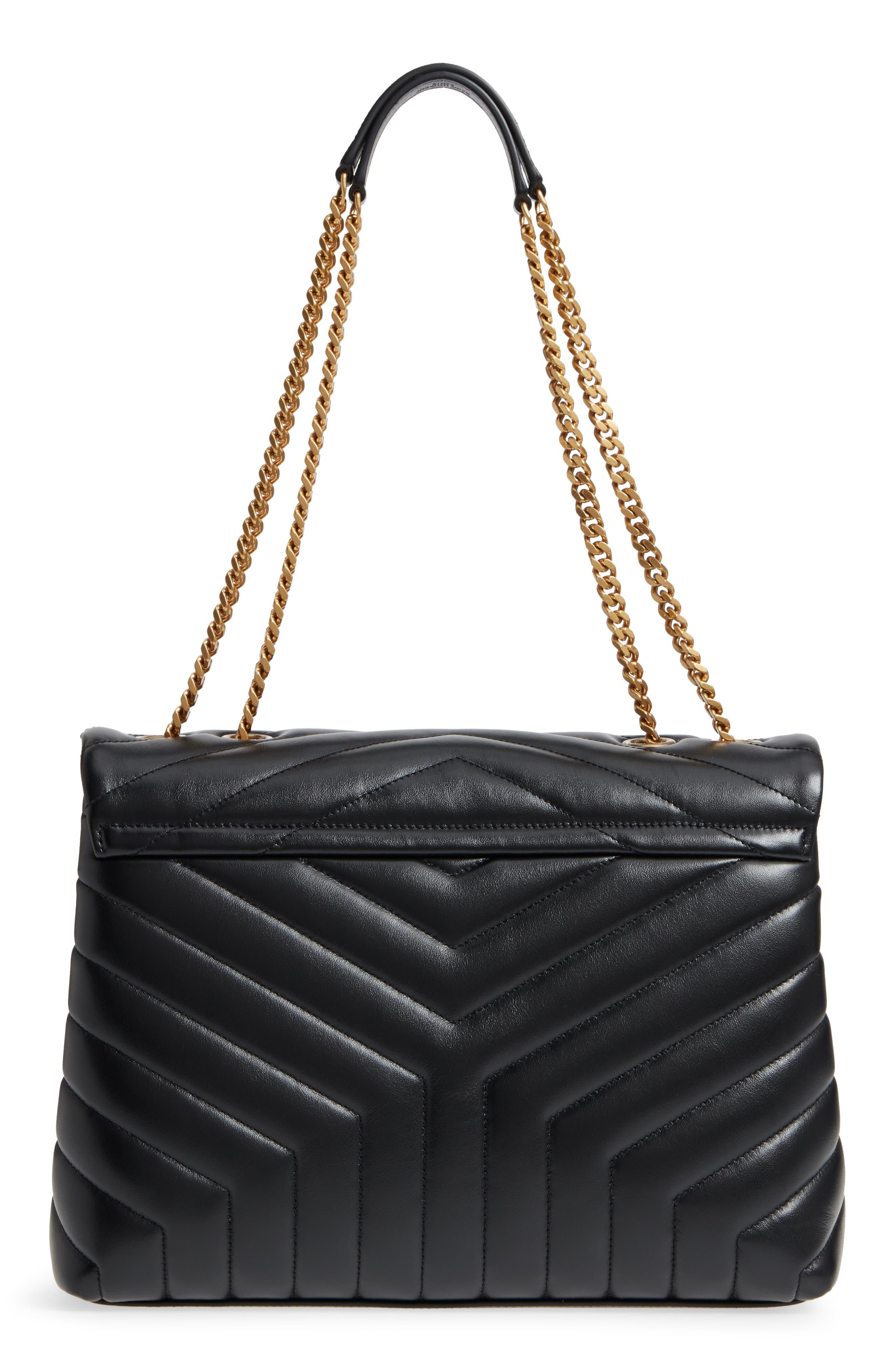 Medium Loulou Matelassé Calfskin Leather Shoulder Bag,                             Alternate thumbnail 3, color,                             NOIR/ GOLD