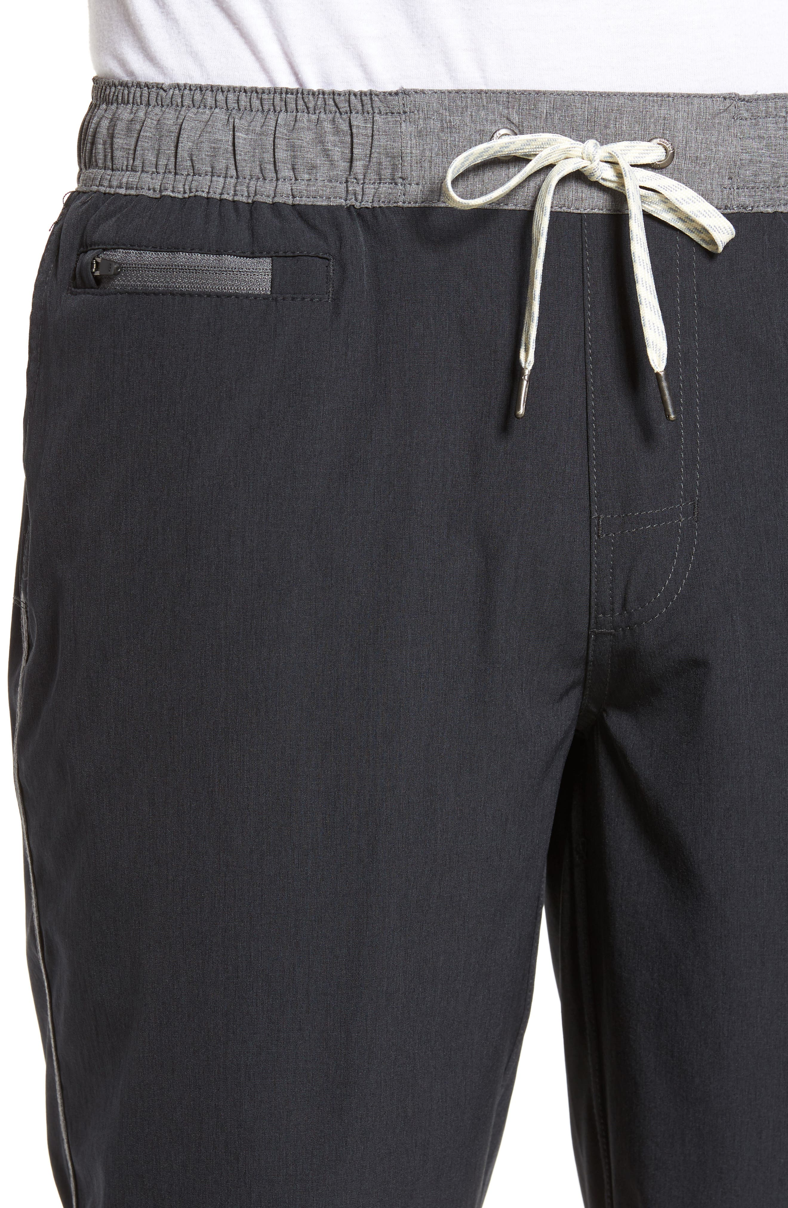 Banks Performance Hybrid Shorts,                             Alternate thumbnail 4, color,                             BLACK LINEN TEXTURE