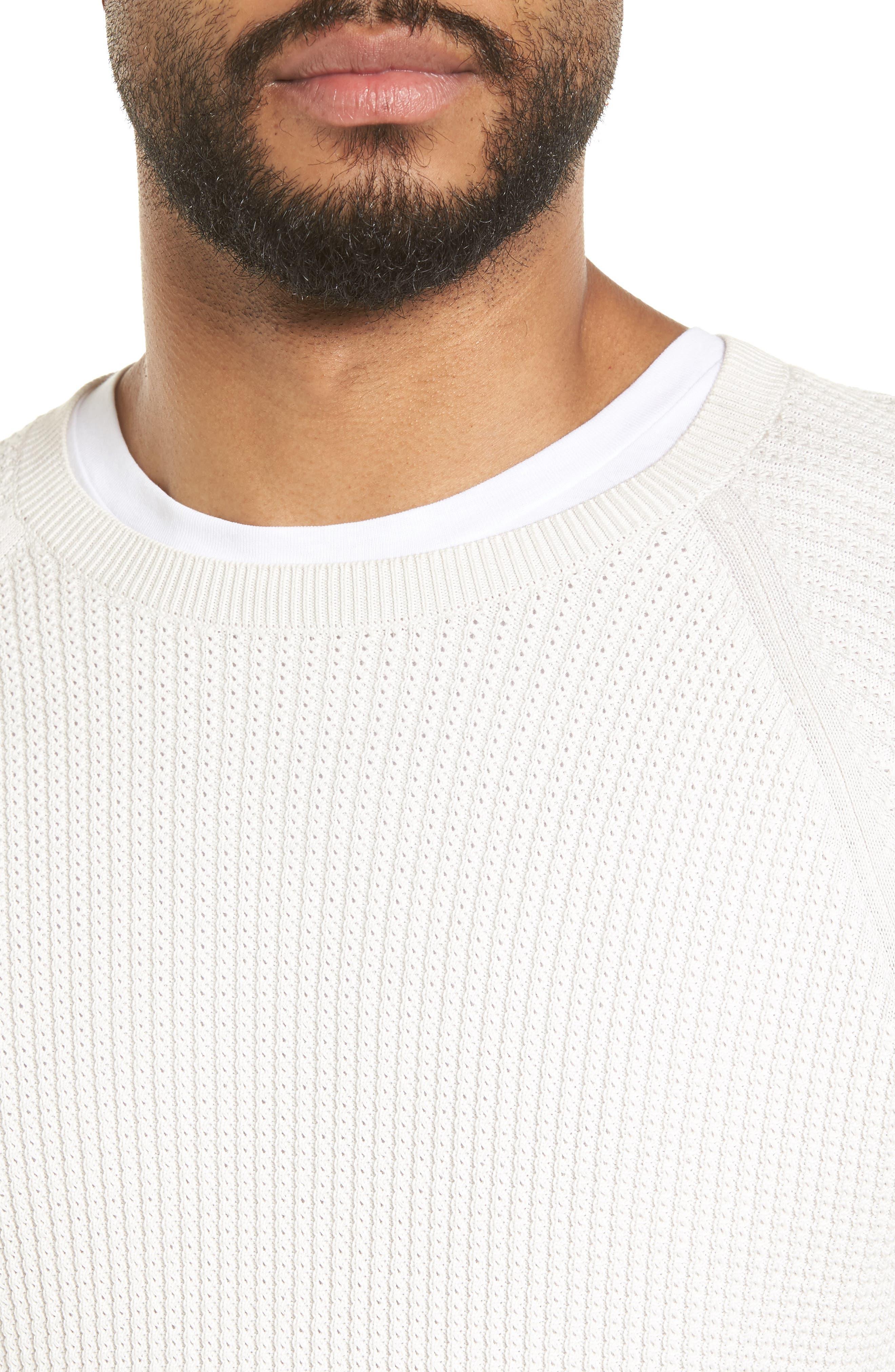 Slim Fit Thermal Knit Raglan Sweater,                             Alternate thumbnail 4, color,                             100