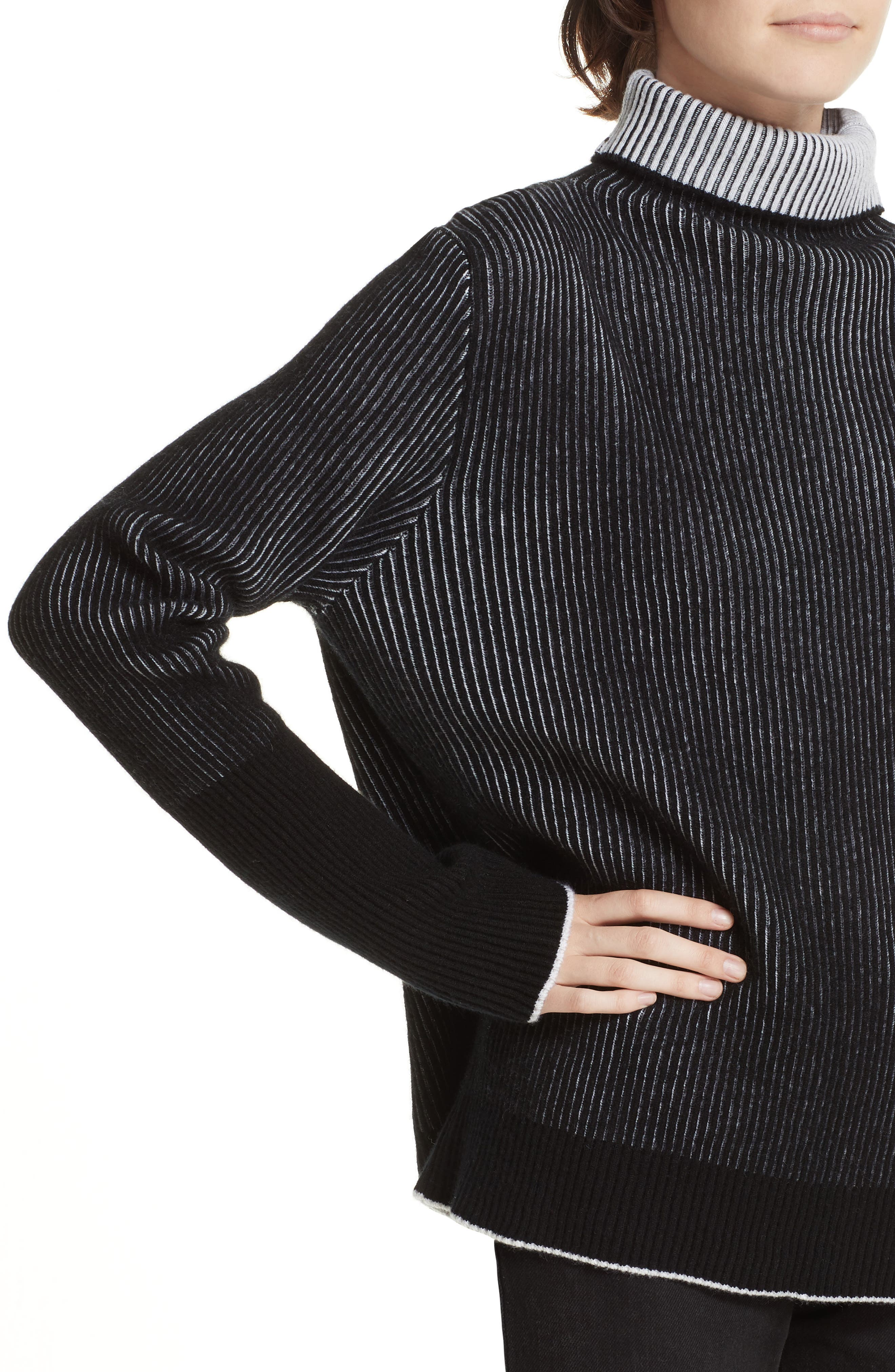 AAA Turtleneck Cashmere Sweater,                             Alternate thumbnail 4, color,                             BLACK/ CREAM