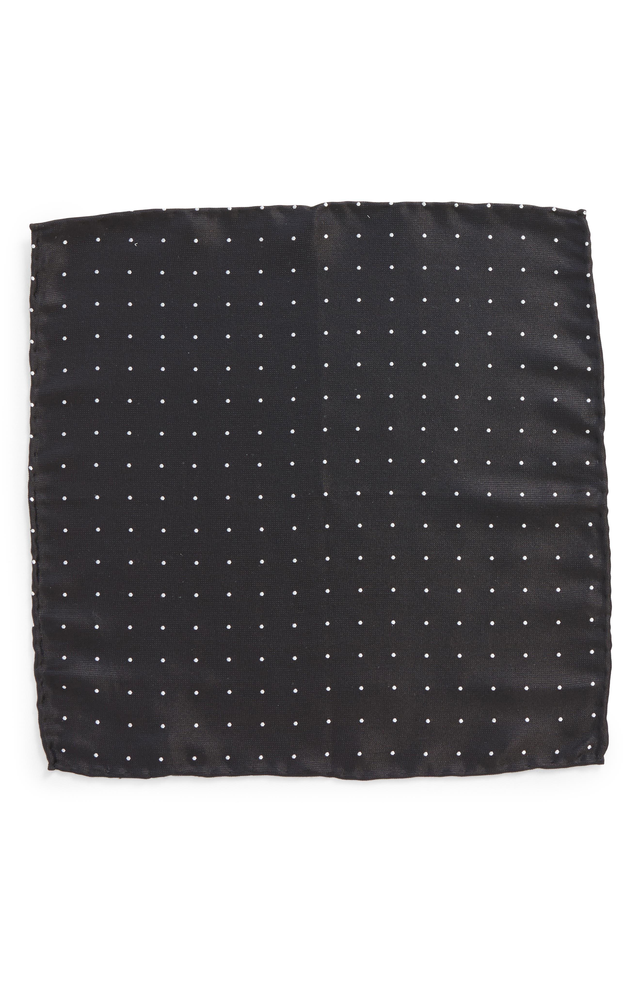 Dot Silk Pocket Square,                             Alternate thumbnail 2, color,                             001