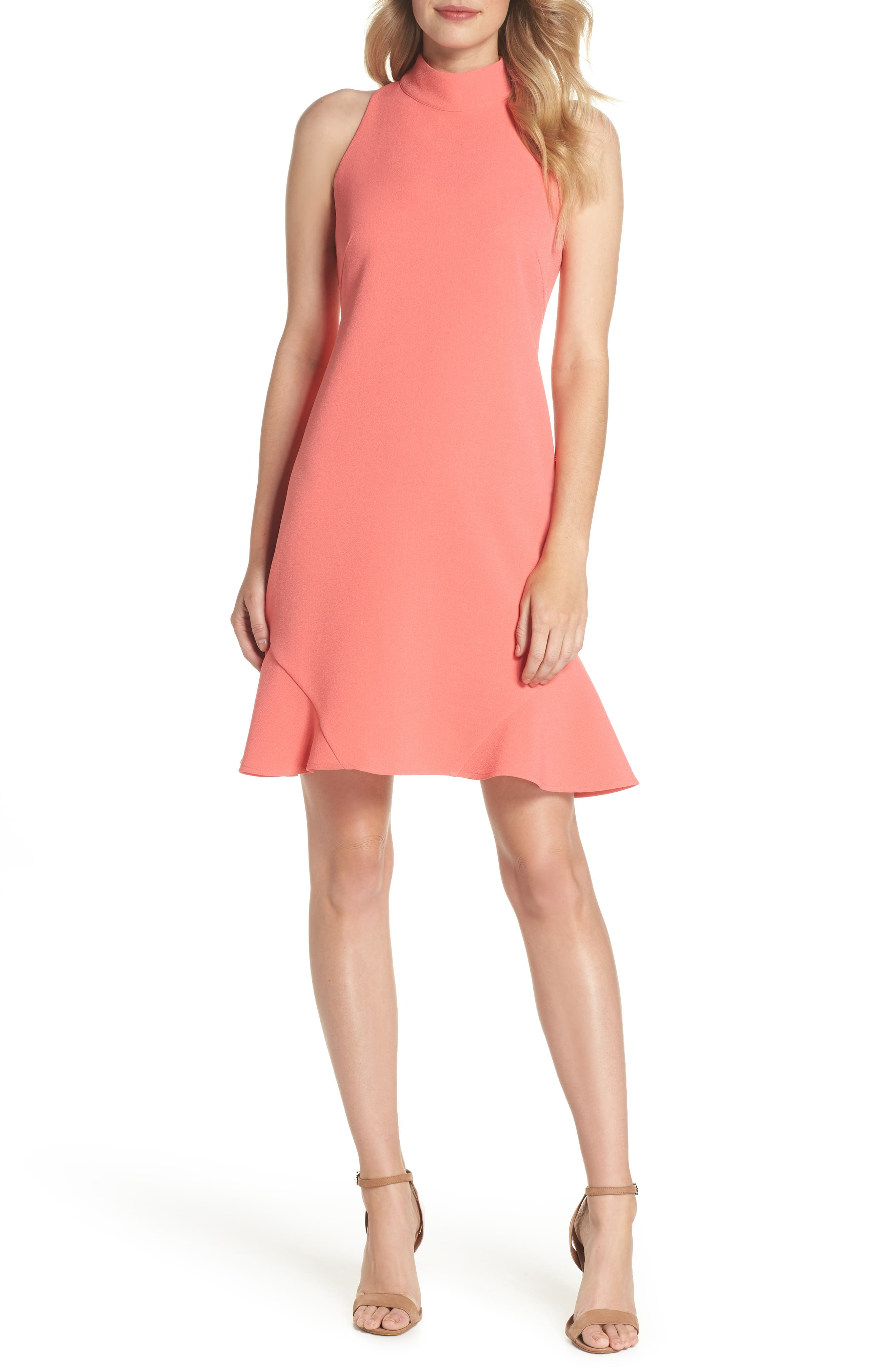 Mock Neck Crepe Shift Dress,                             Main thumbnail 1, color,                             629