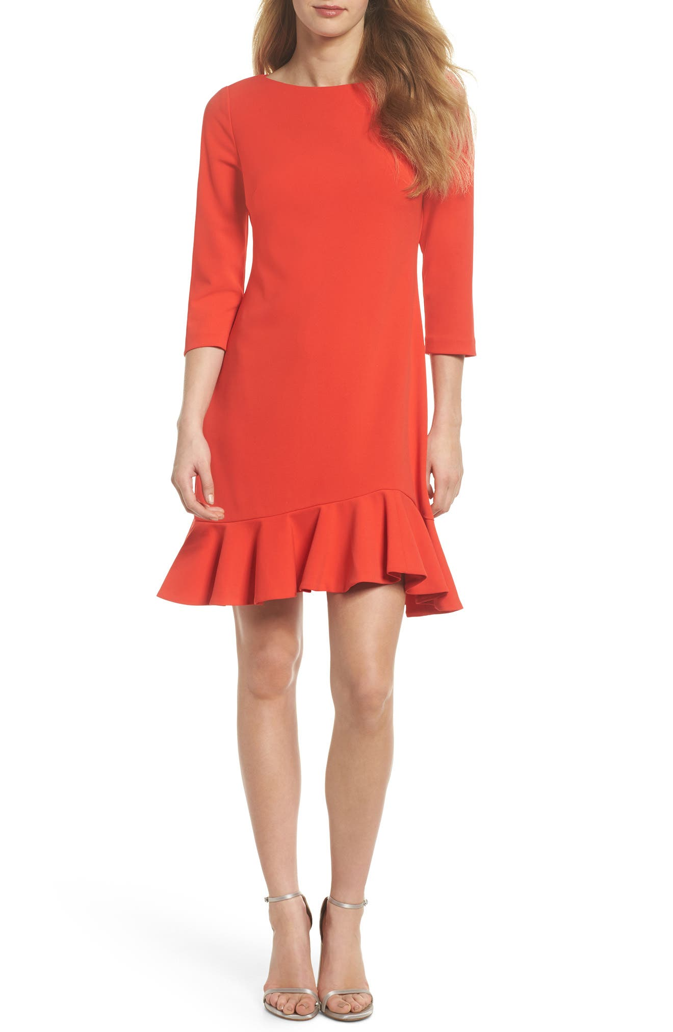 Crepe Ruffle Hem Body-Con Dress,                             Main thumbnail 2, color,