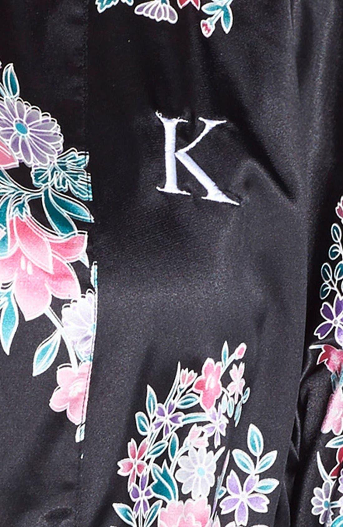 Monogram Floral Satin Robe,                             Alternate thumbnail 149, color,