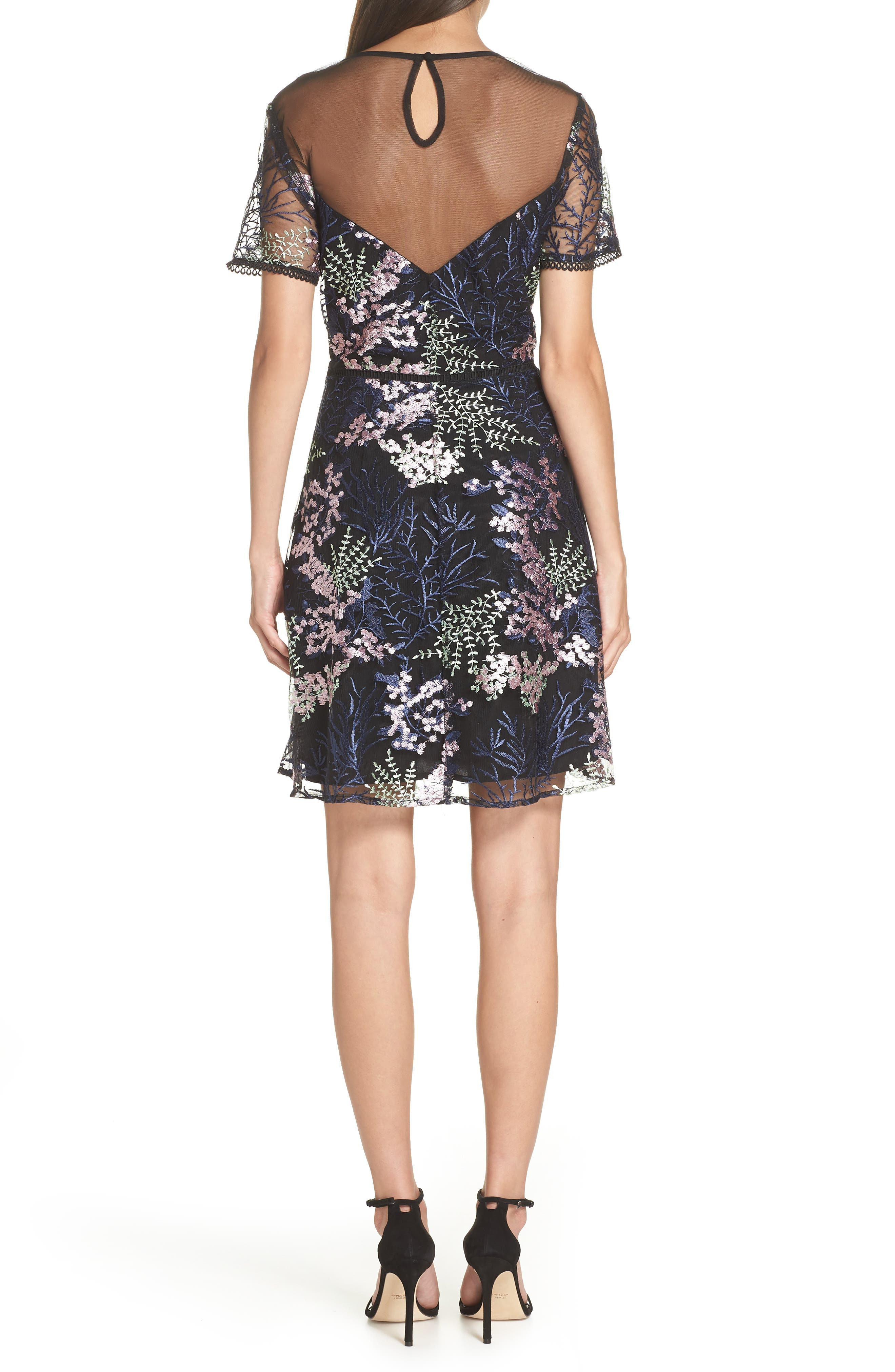 Embroidered Lace A-Line Dress,                             Alternate thumbnail 2, color,                             BLACK FLOWY FLORAL