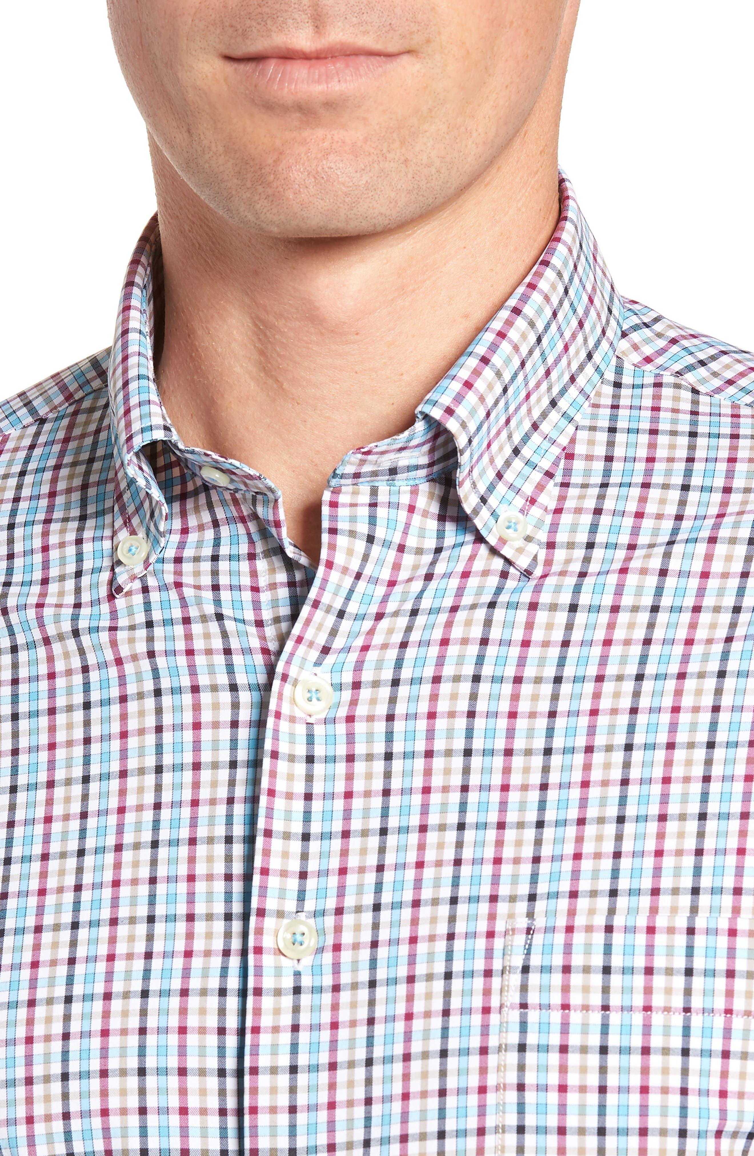 Lawson Regular Fit Tattersall Check Performance Sport Shirt,                             Alternate thumbnail 2, color,                             BLACK