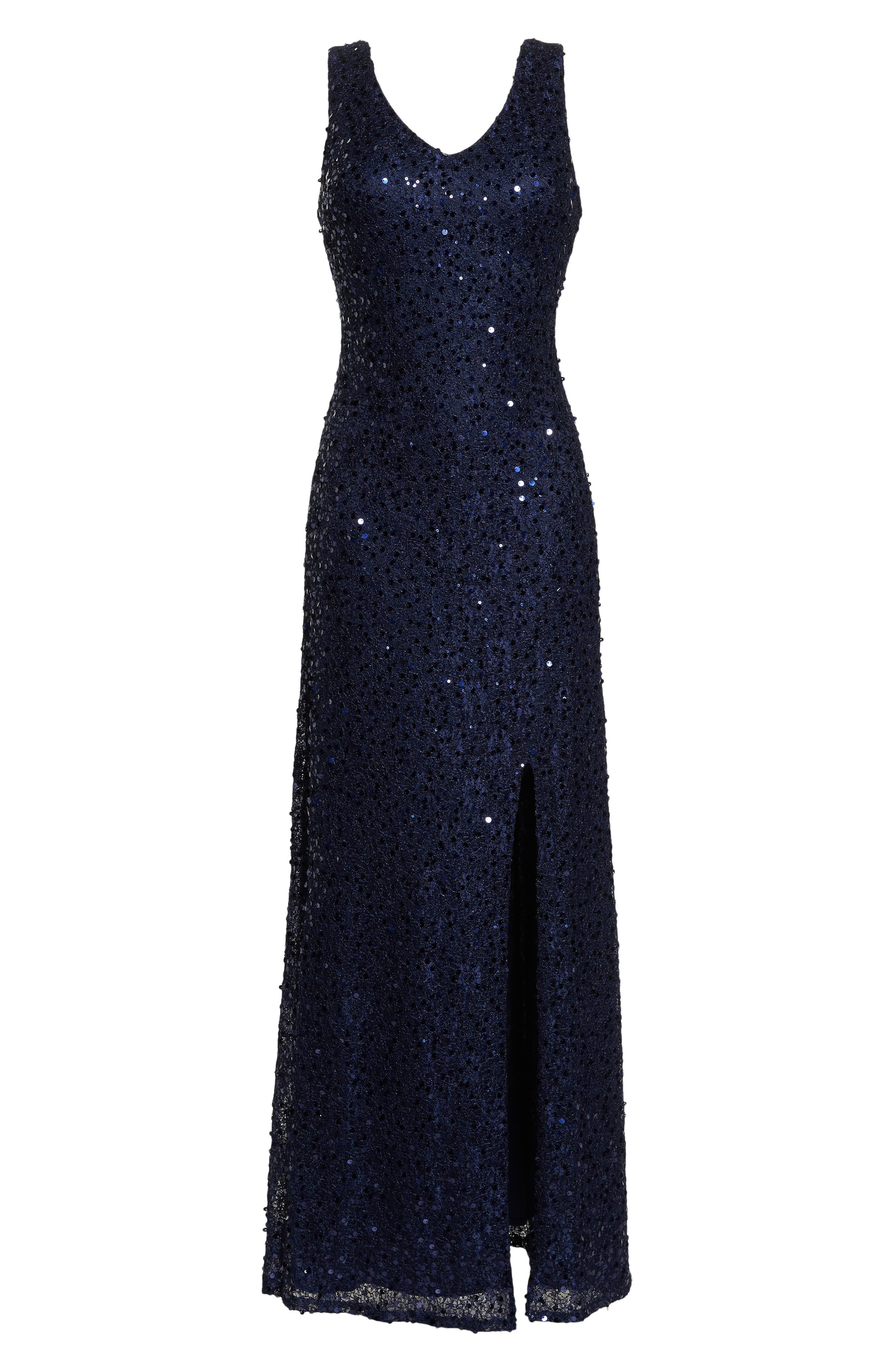 MORGAN & CO.,                             Sequin & Lace Gown,                             Alternate thumbnail 7, color,                             NAVY