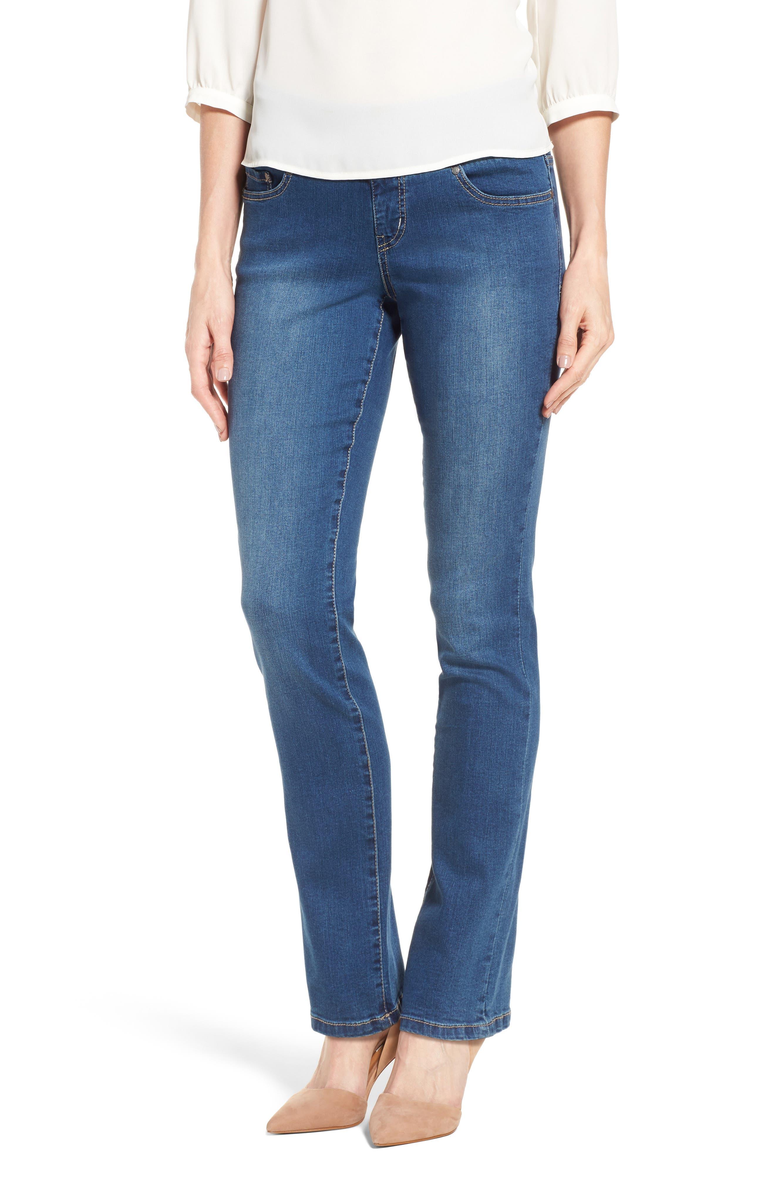 Peri Pull-On Straight Leg Jeans,                             Main thumbnail 1, color,                             MEDIUM INDIGO