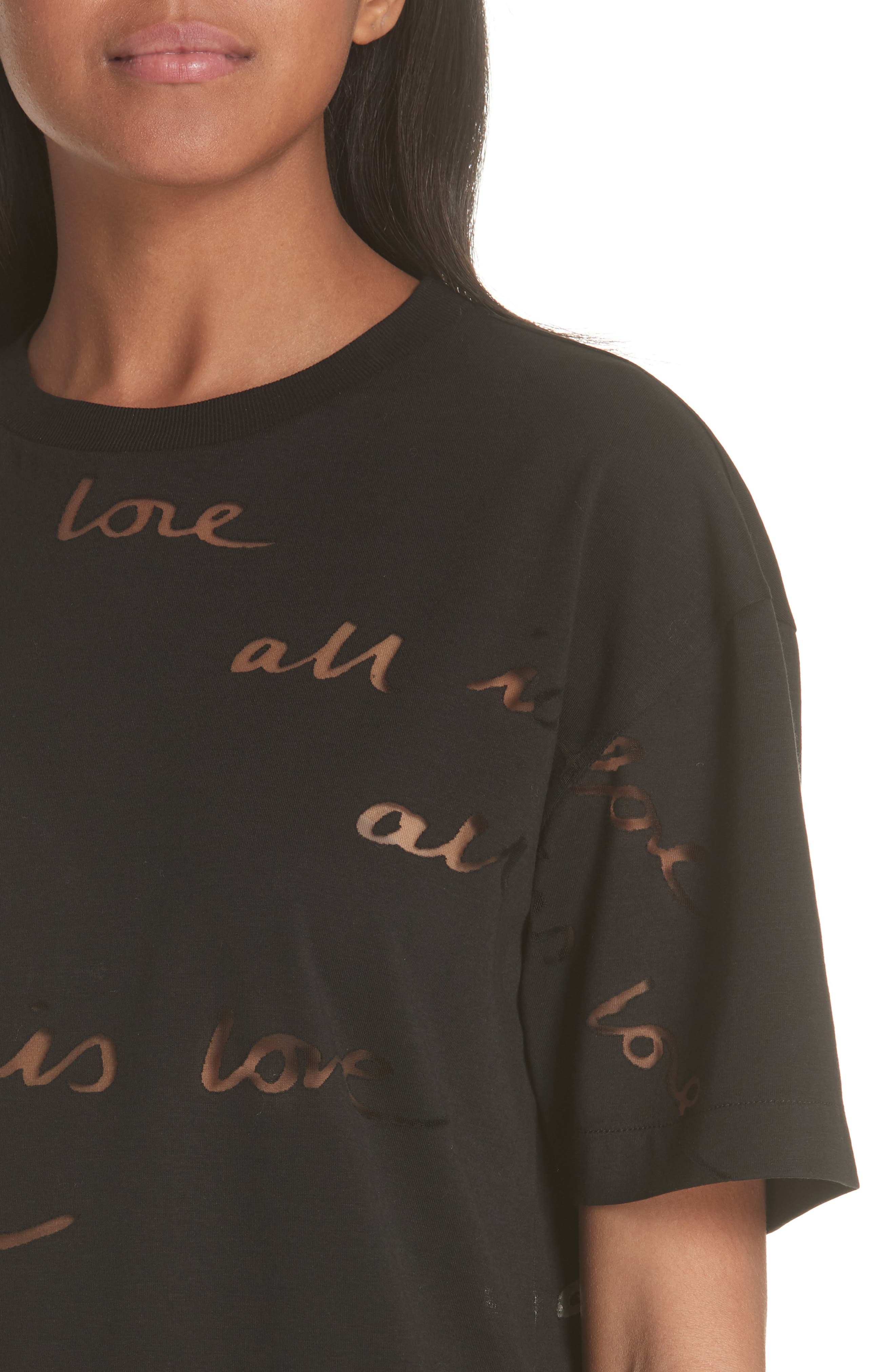 All Is Love See Through Graphic Tee,                             Alternate thumbnail 4, color,                             001
