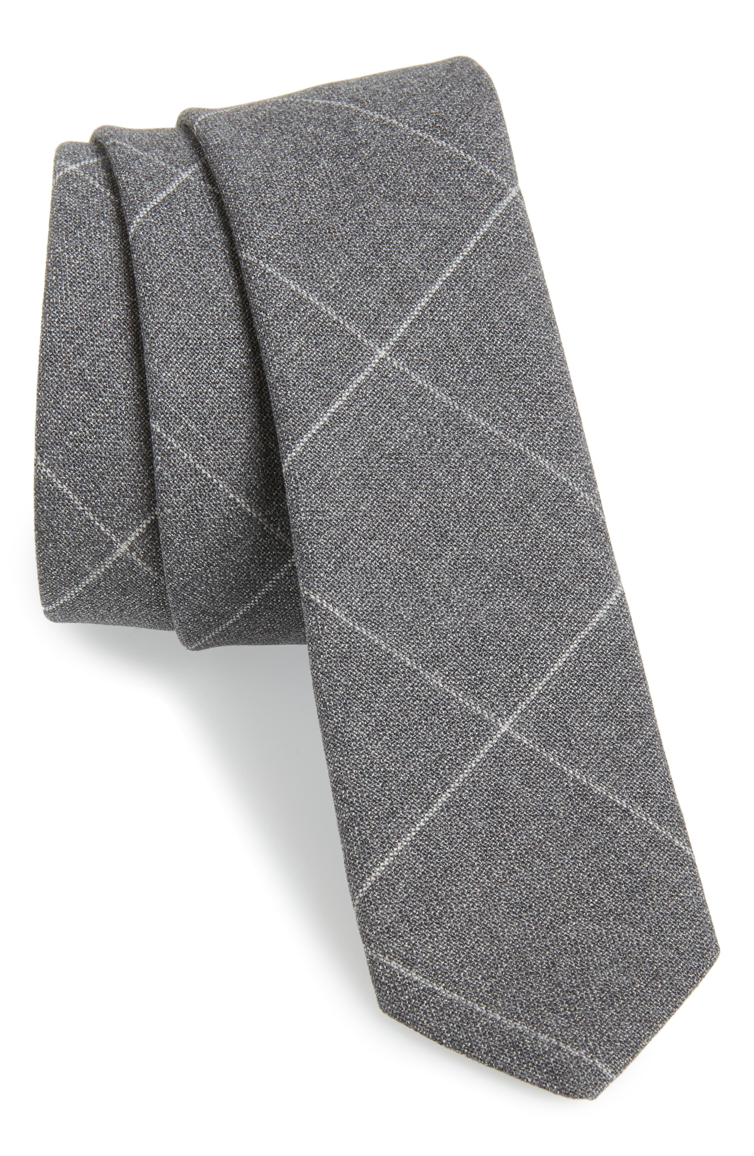 Windowpane Wool Skinny Tie,                             Main thumbnail 1, color,                             LIGHT GREY