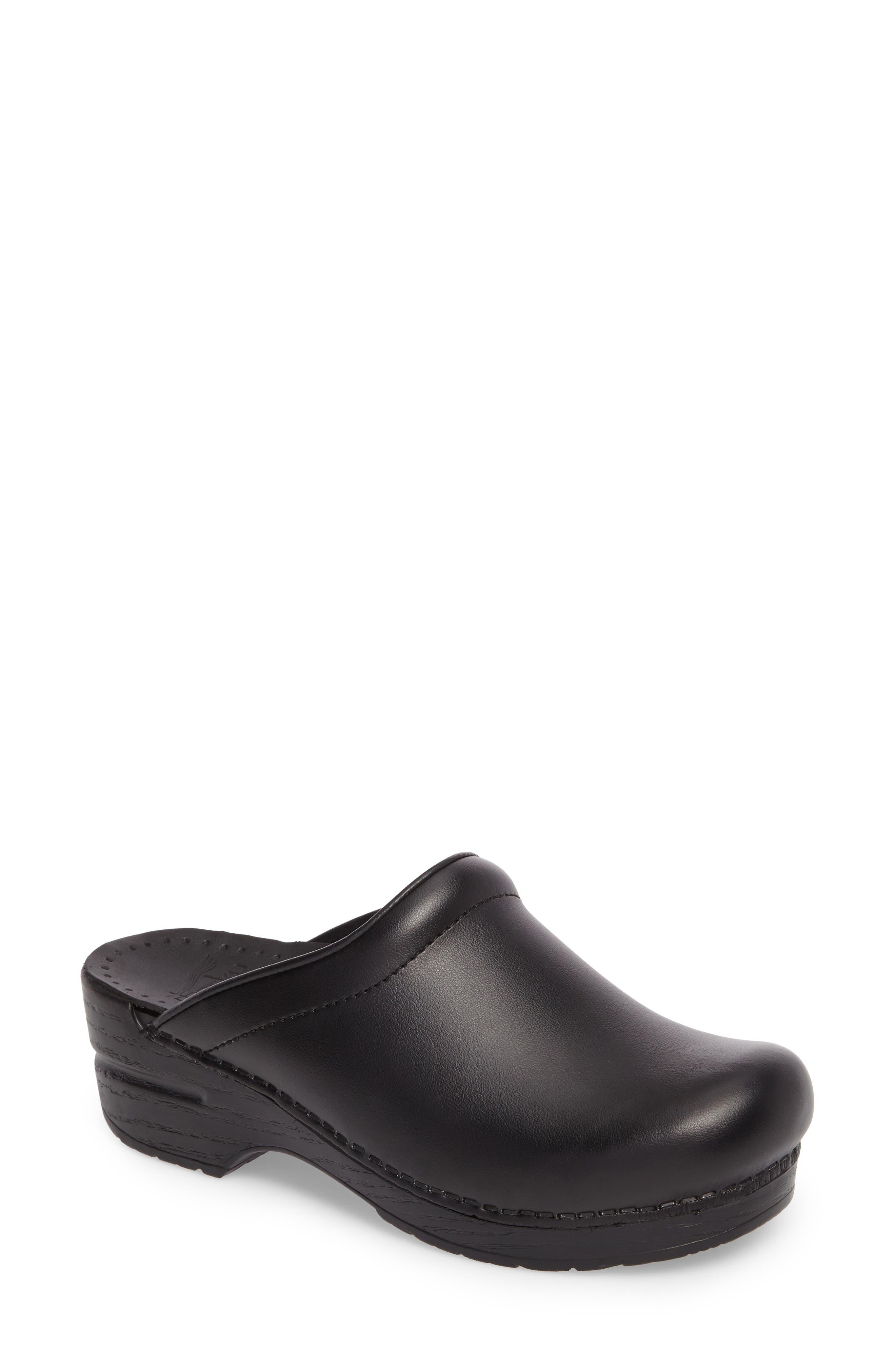 'Sonja' Patent Leather Clog,                             Main thumbnail 1, color,                             BLACK BOX LEATHER
