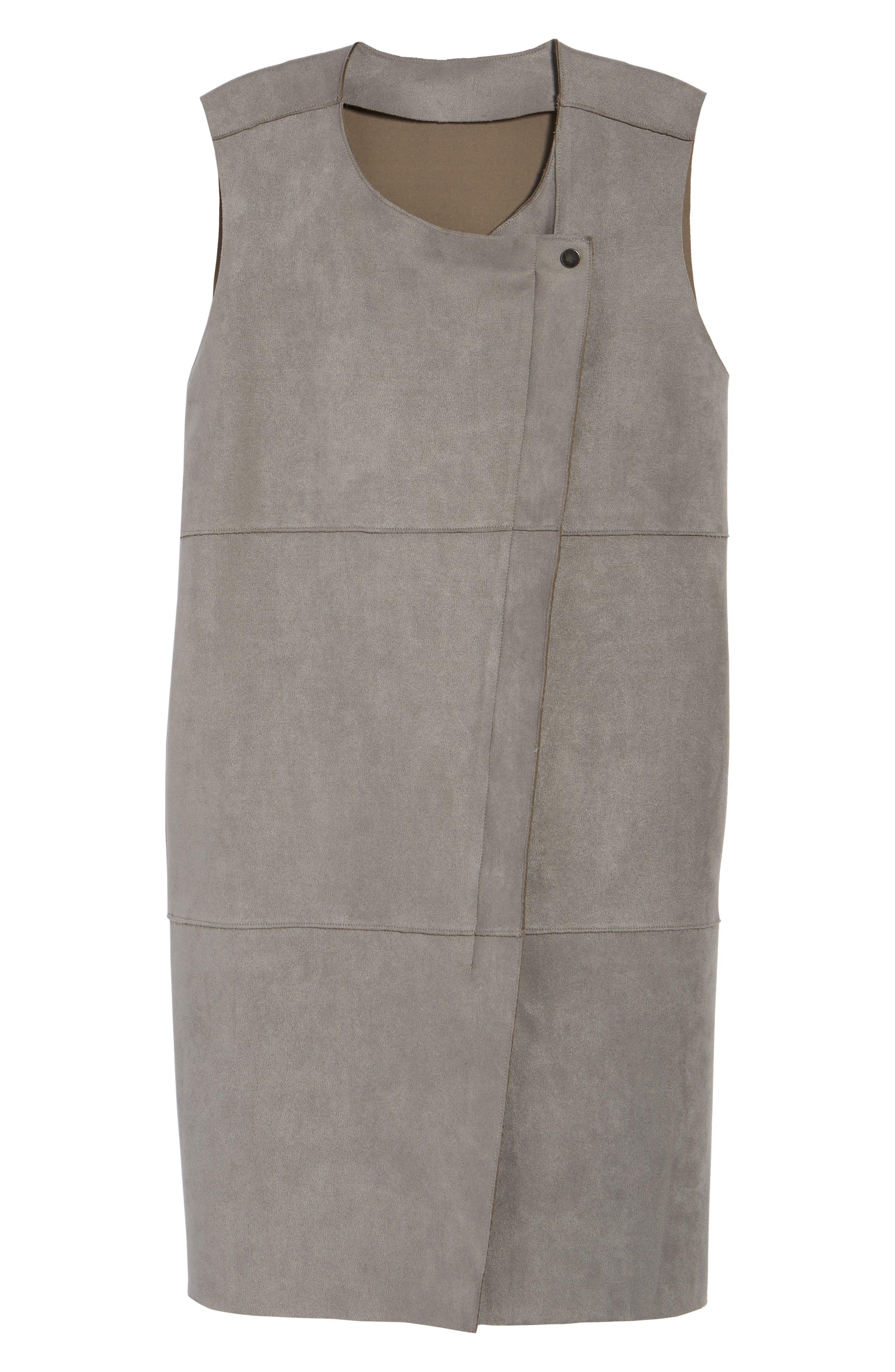 Asymmetrical Faux Suede Vest,                             Alternate thumbnail 5, color,
