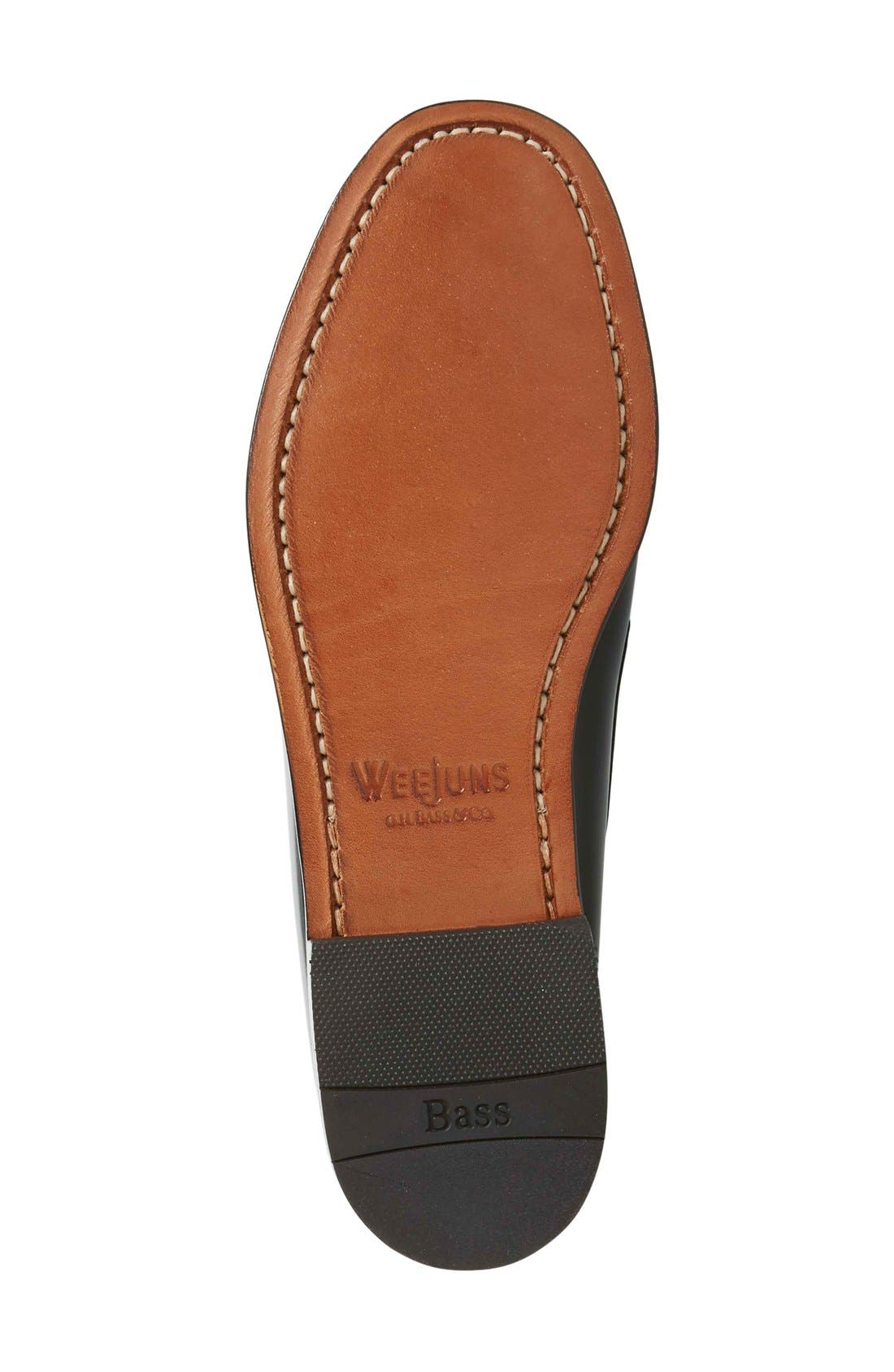 'Larson - Weejuns' Penny Loafer,                             Alternate thumbnail 4, color,                             BLACK LEATHER