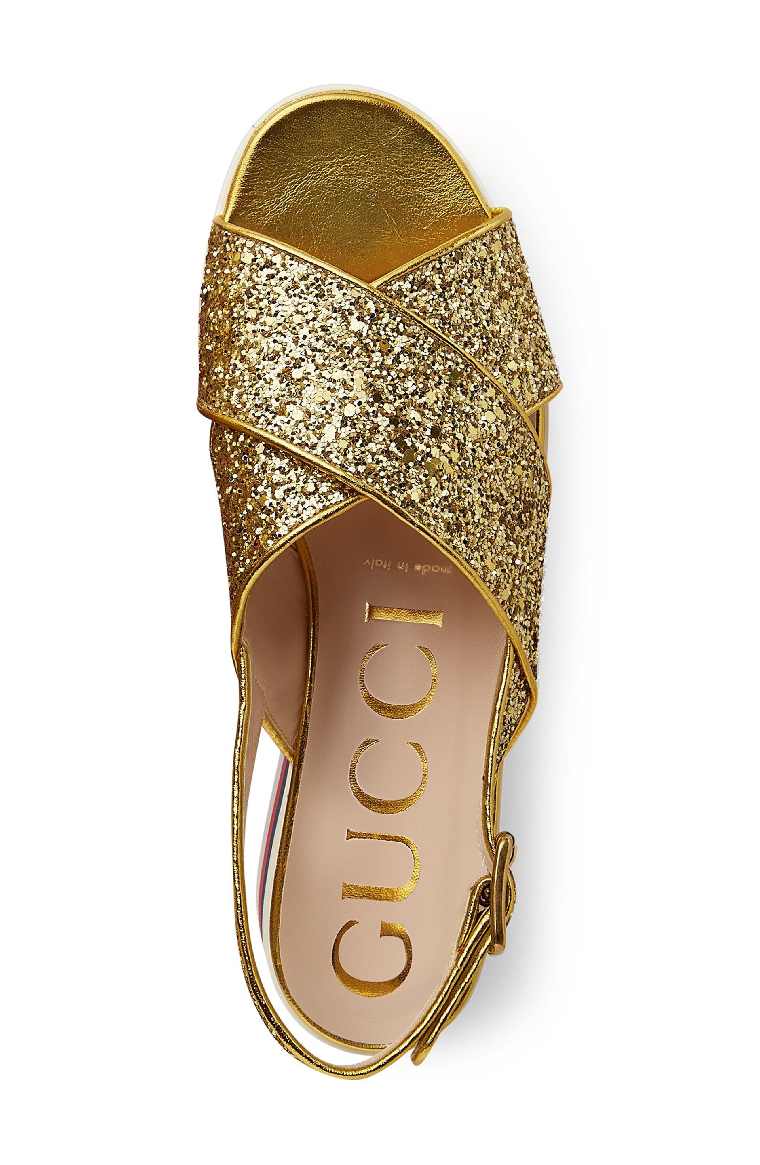 Glitter Flatform Sandal,                             Alternate thumbnail 4, color,