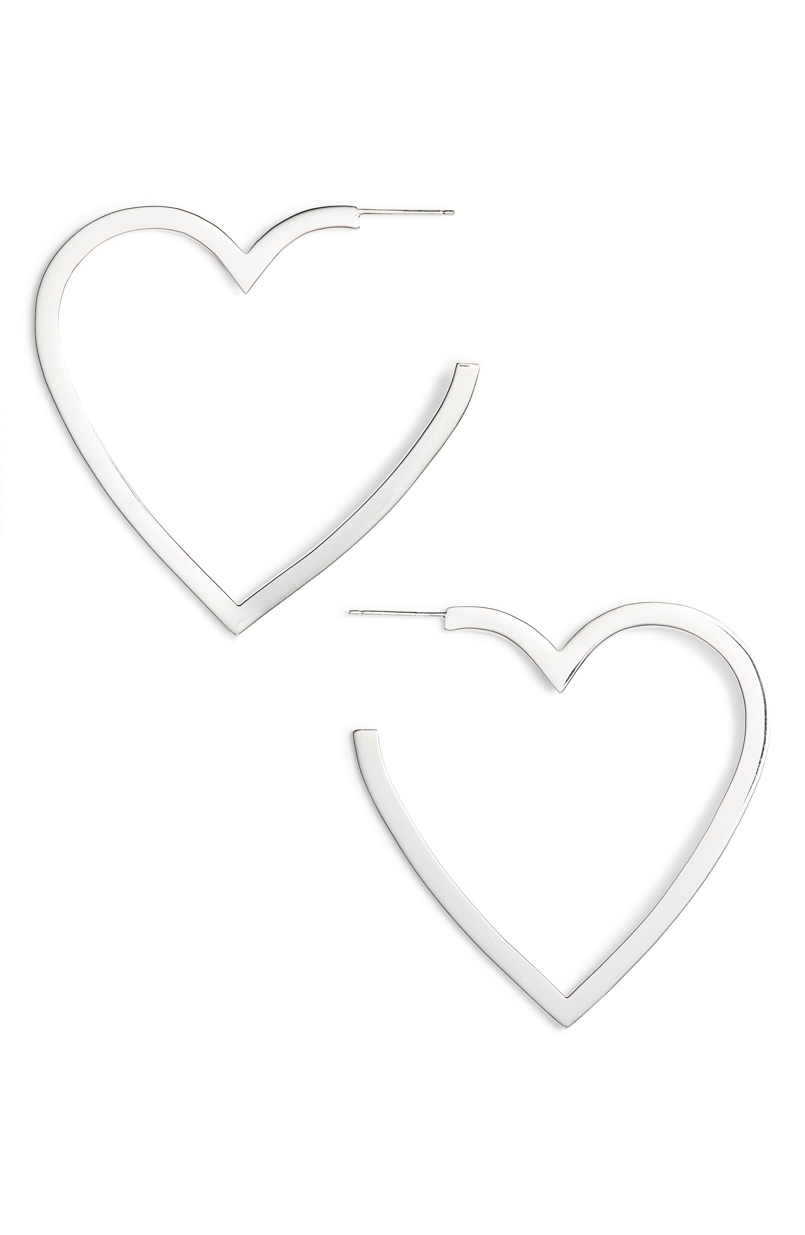 Larissa Medium Open Heart Earrings,                             Main thumbnail 1, color,                             STERLING SILVER