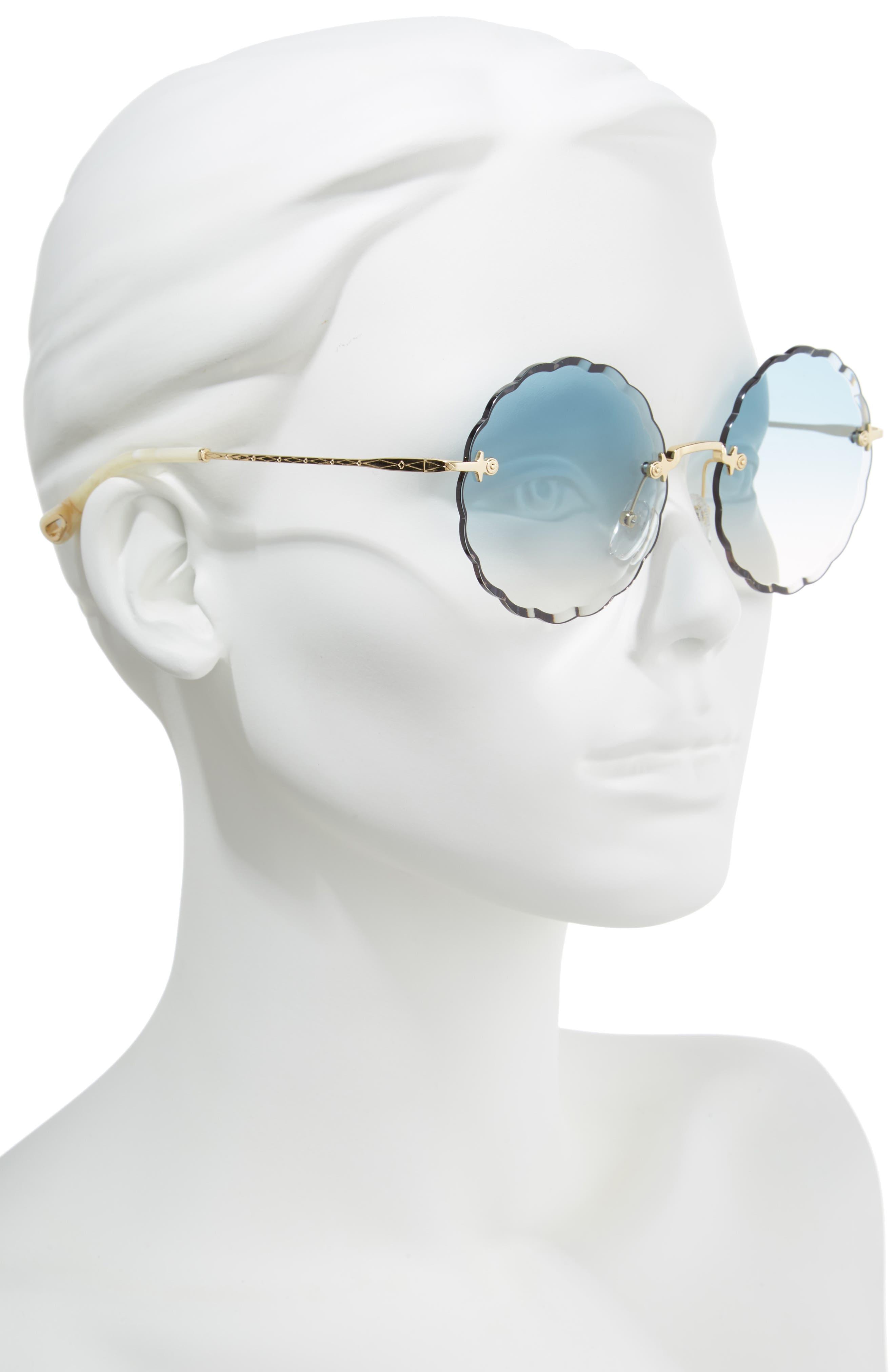 Rosie 60mm Scalloped Rimless Sunglasses,                             Alternate thumbnail 2, color,                             GOLD/ GRADIENT BLUE