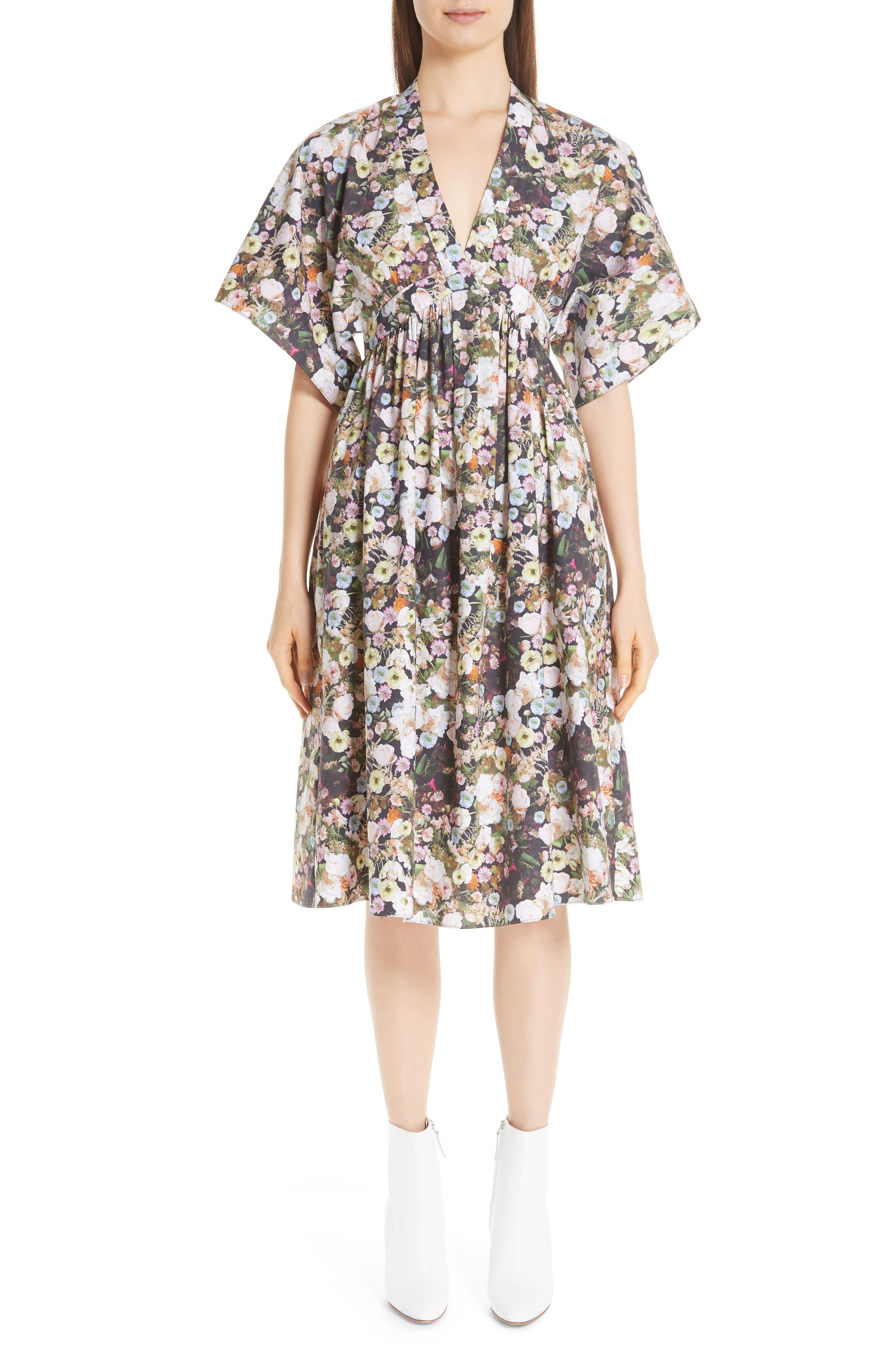 Floral Print Poplin Dress,                             Main thumbnail 1, color,                             BLACK FLORAL