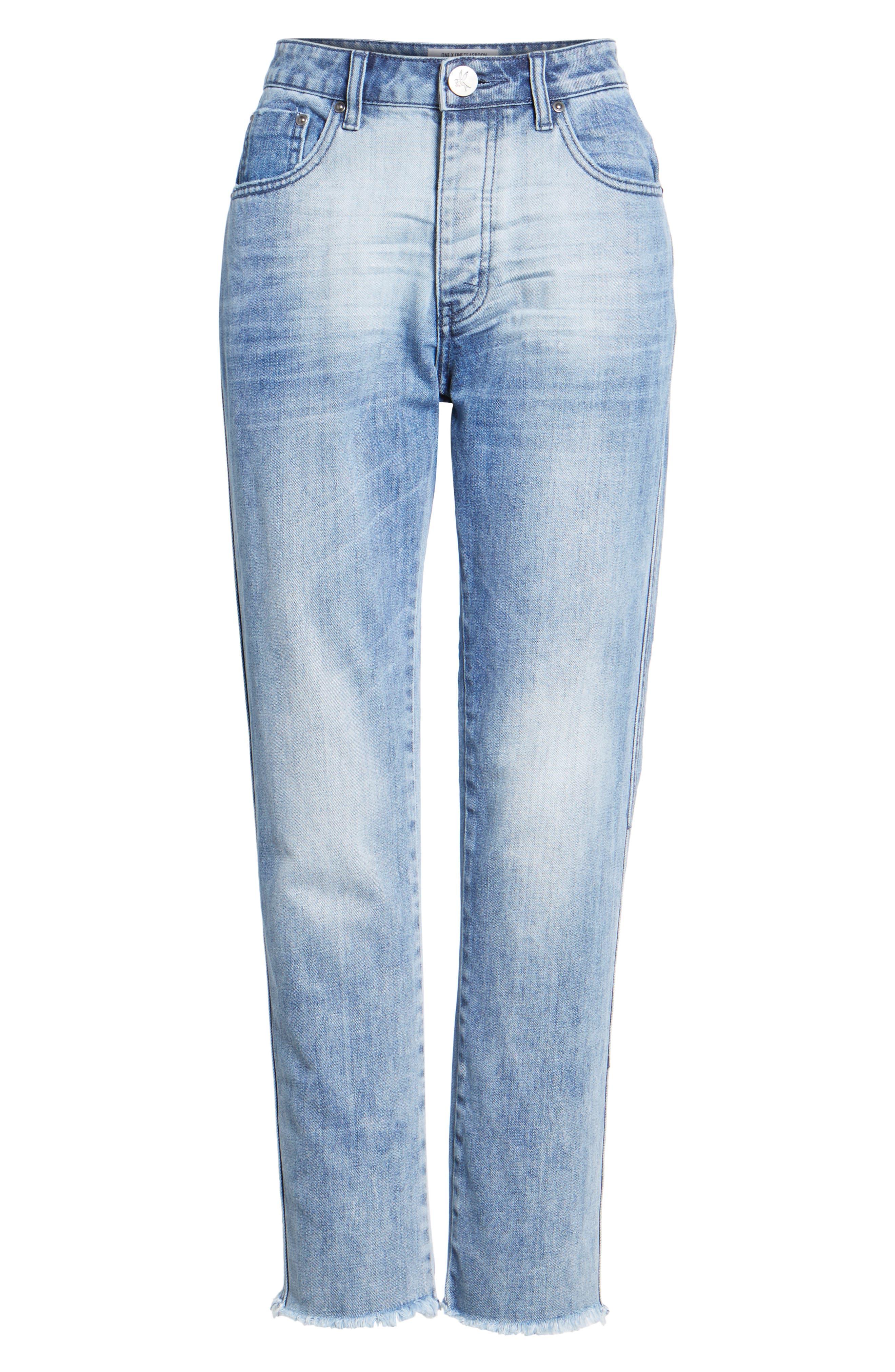 Tuckers High Waist Straight Leg Jeans,                             Alternate thumbnail 6, color,