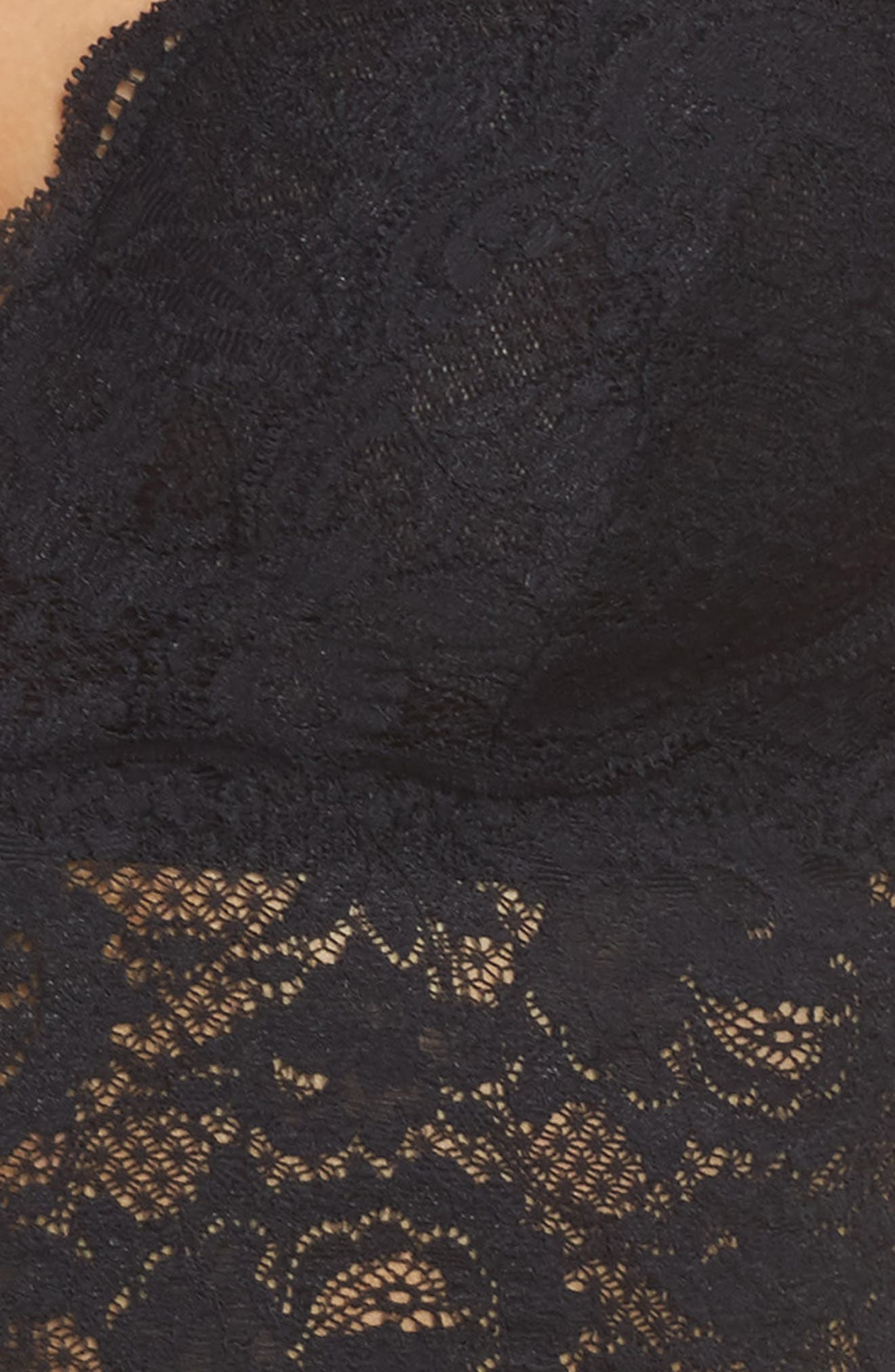 Plunging Lace Bralette,                             Alternate thumbnail 4, color,                             001