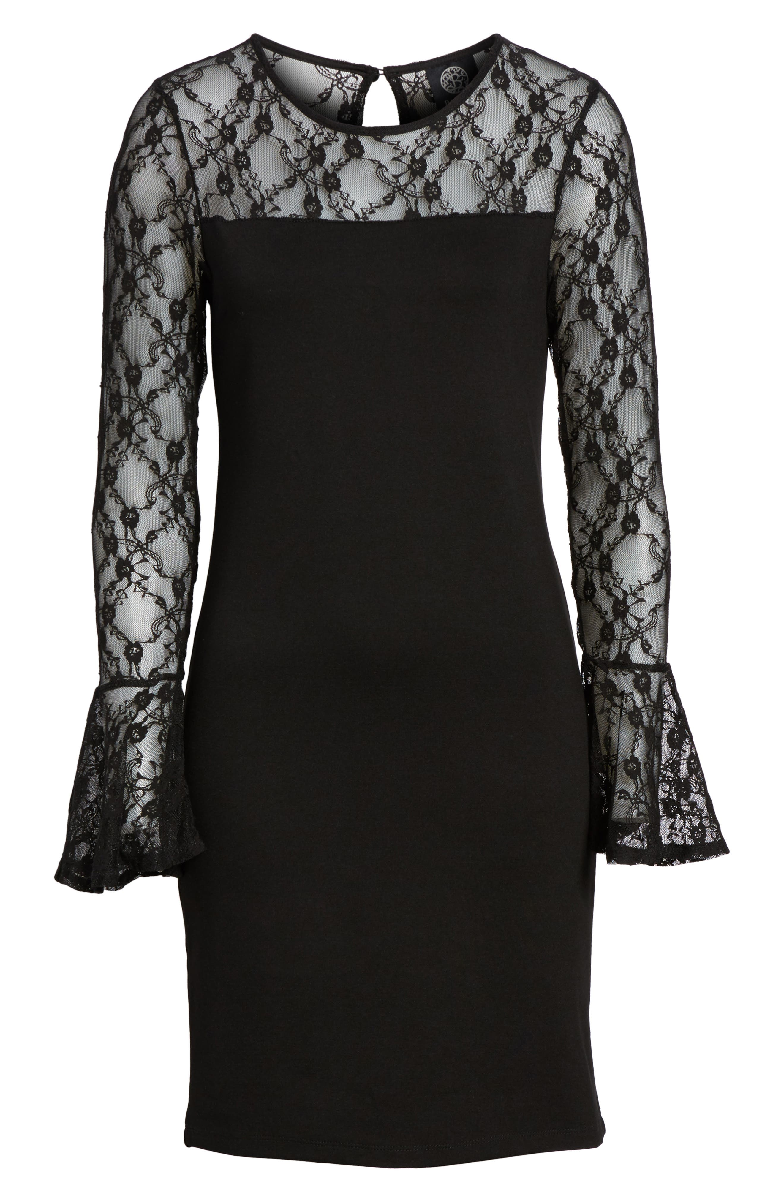 Flared Cuff Lace Sleeve Dress,                             Alternate thumbnail 6, color,                             001